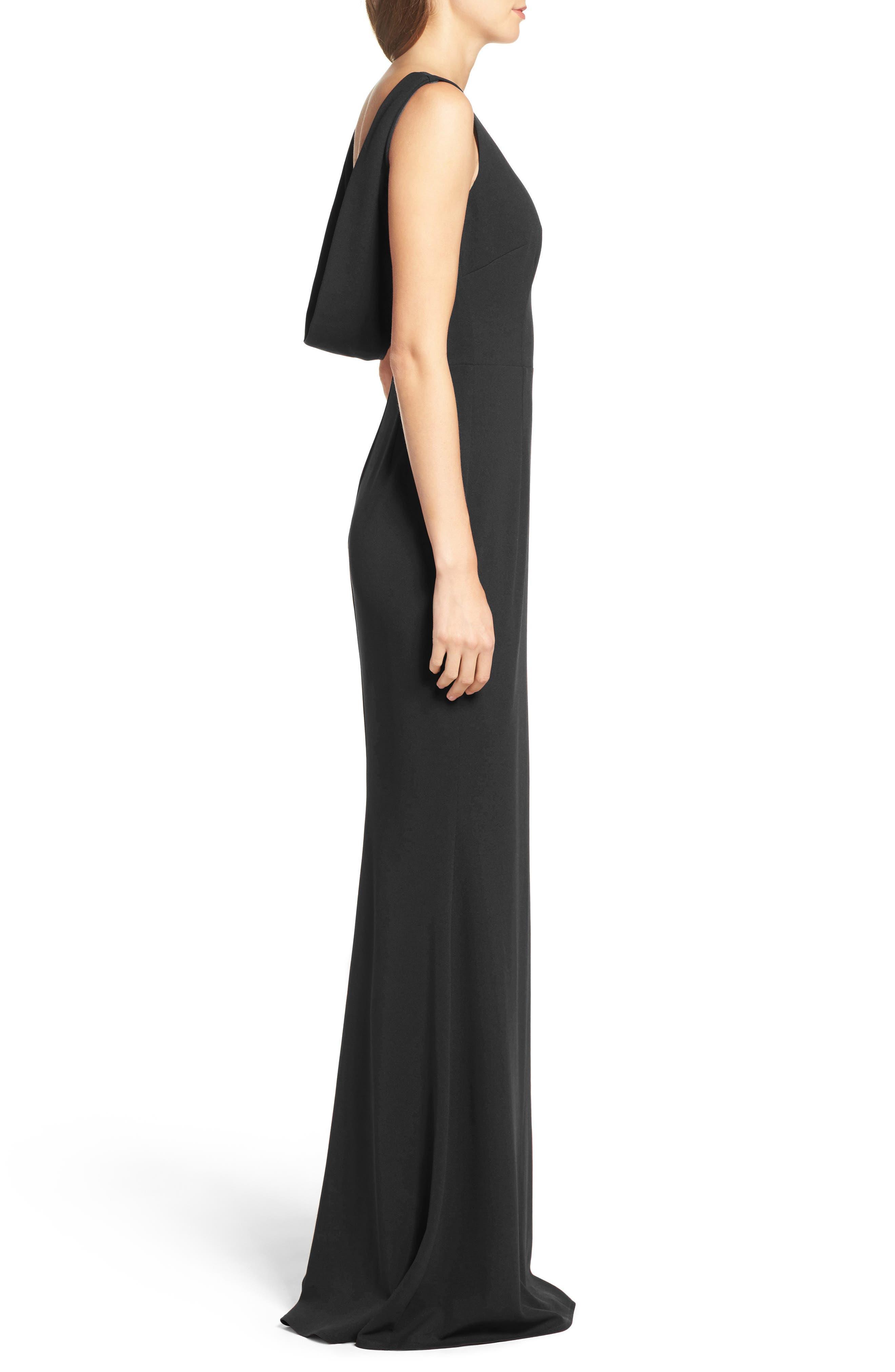 KATIE MAY, Vionnet Drape Back Crepe Gown, Alternate thumbnail 3, color, BLACK