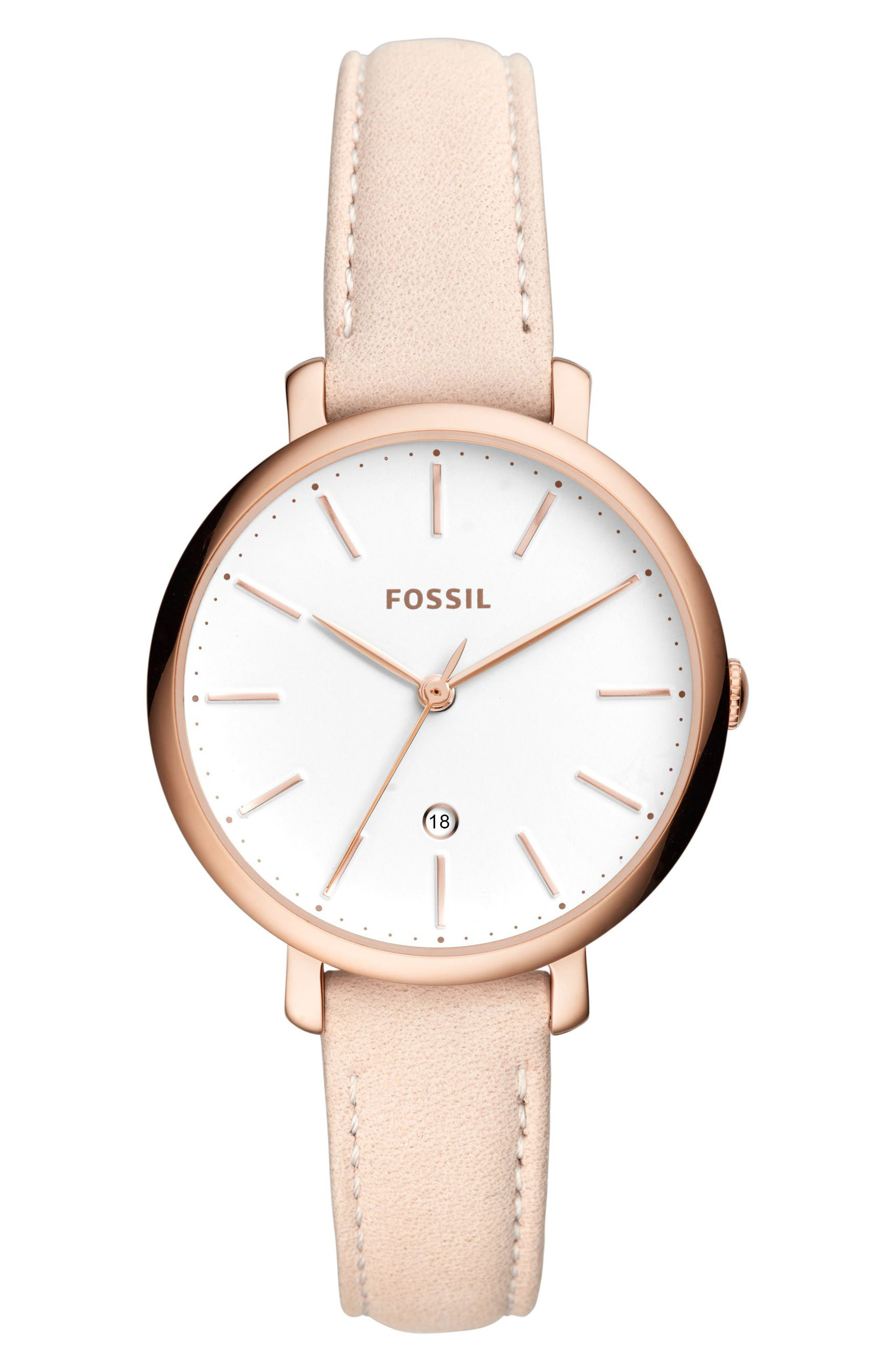 FOSSIL, Jacqueline Leather Strap Watch, 36mm, Main thumbnail 1, color, BEIGE/ WHITE/ ROSE GOLD