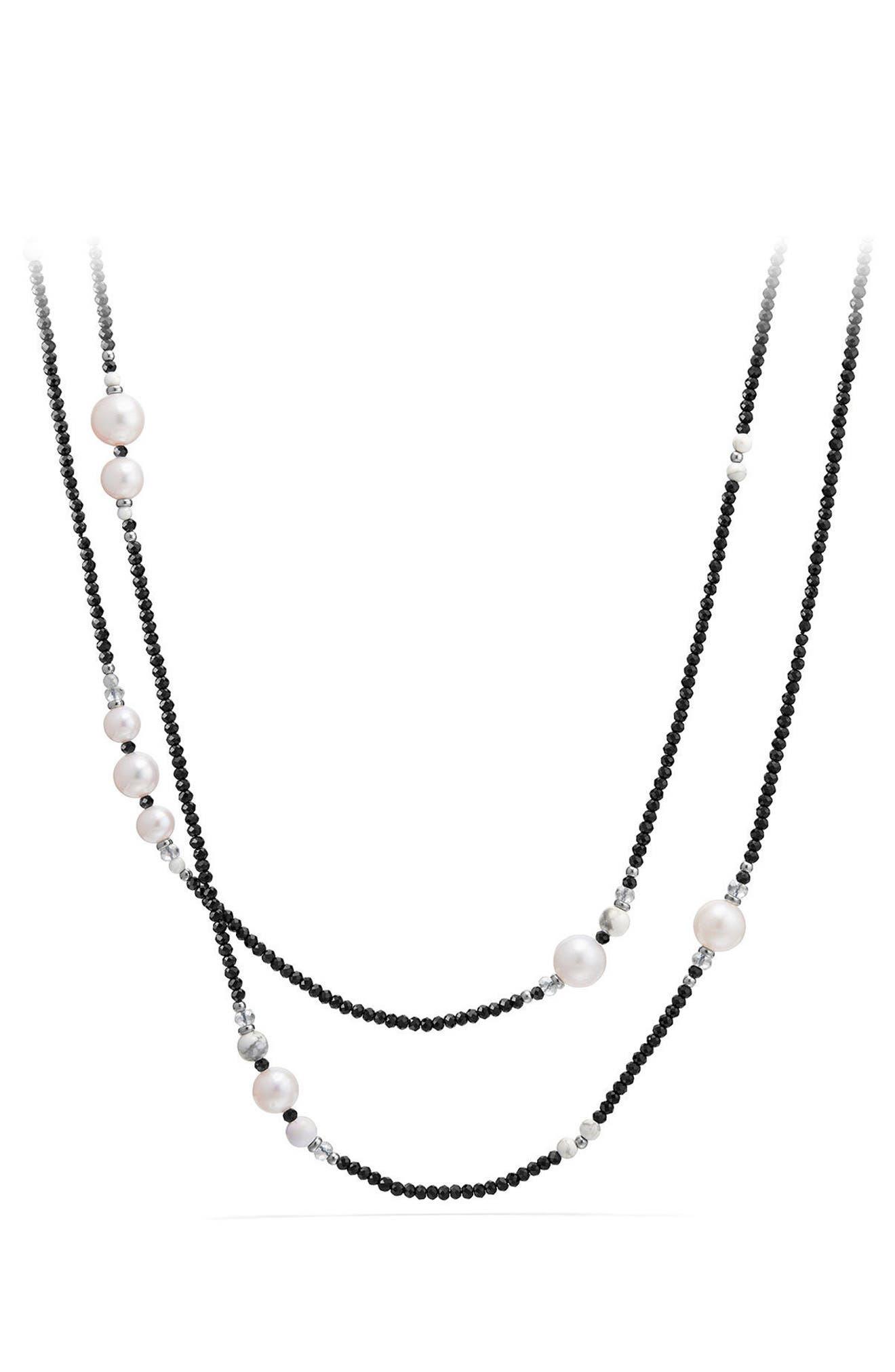 DAVID YURMAN, Solari - Tweejoux Pearl Necklace, Main thumbnail 1, color, PEARL/ BLACK SPINEL