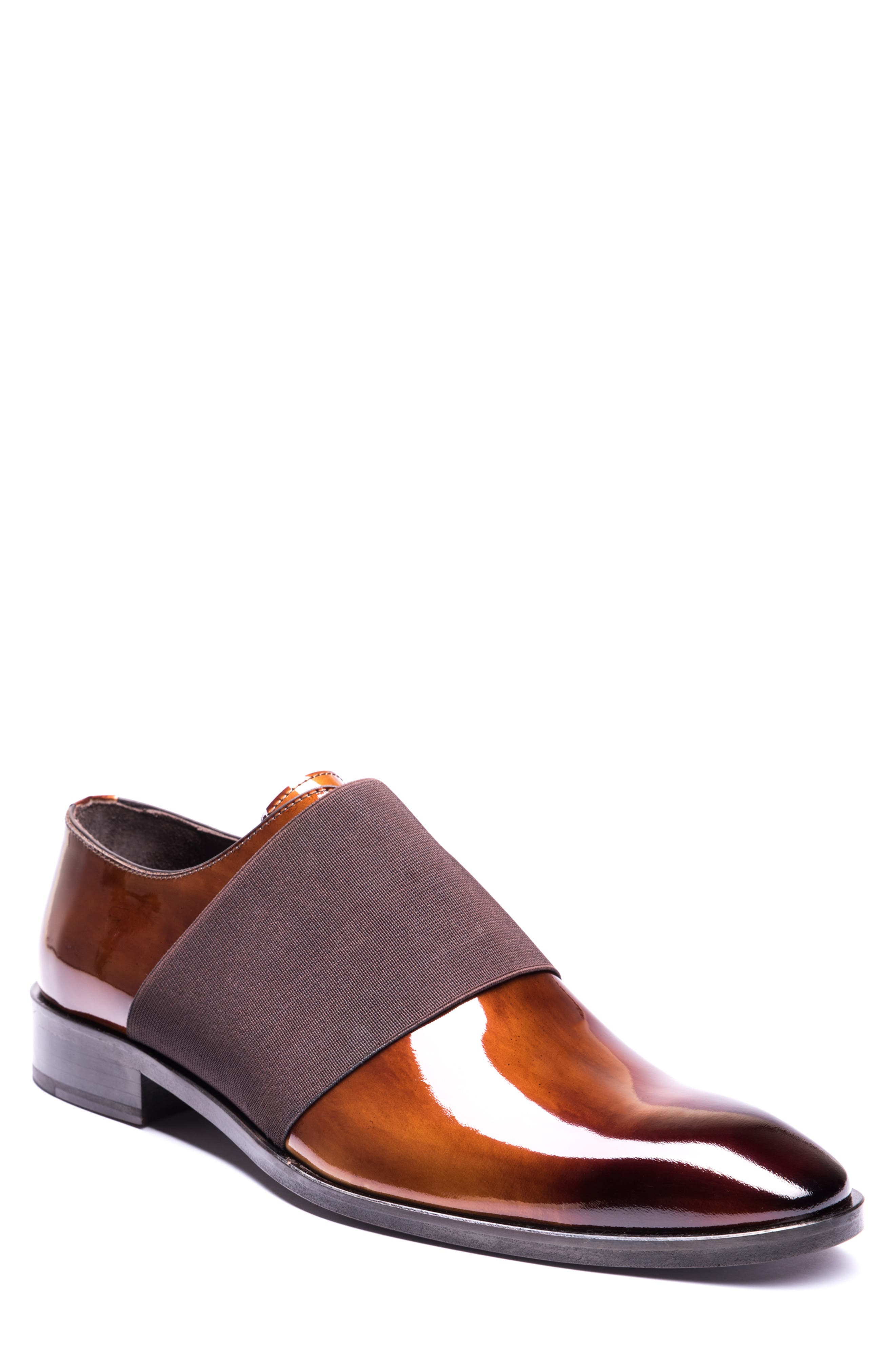 JARED LANG Vincenzo Whole Cut Slip-On, Main, color, BROWN LEATHER