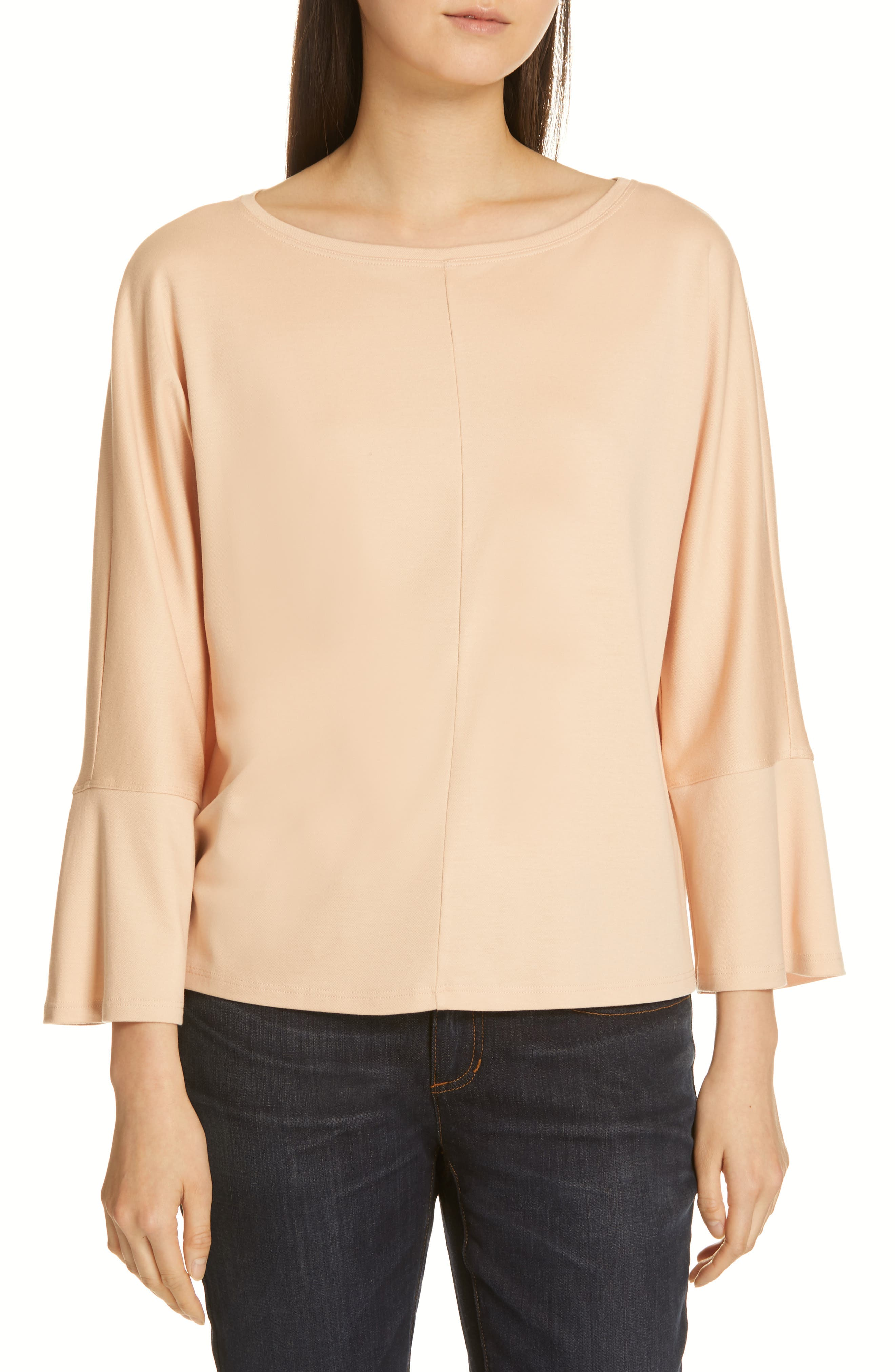 EILEEN FISHER, Bell Sleeve Top, Main thumbnail 1, color, ROSE WATER