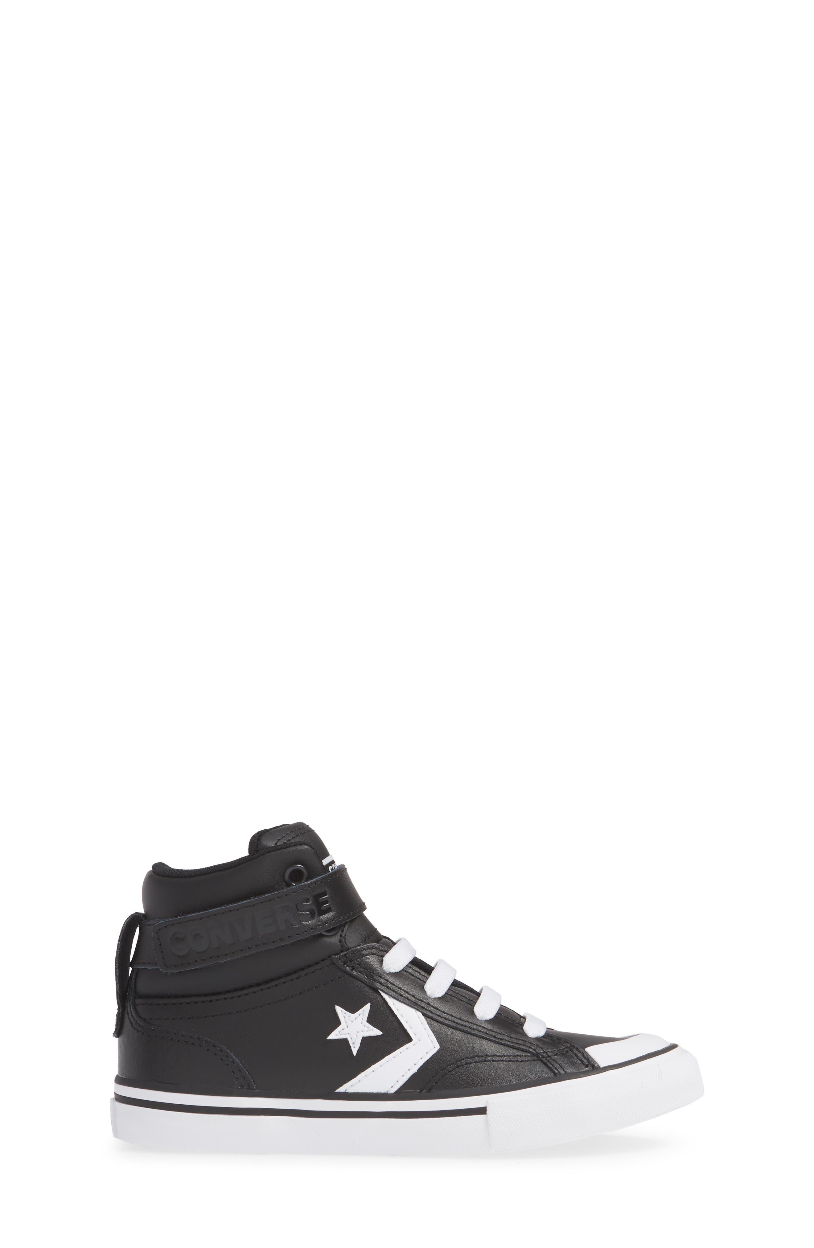 CONVERSE, Pro Blaze High Top Sneaker, Alternate thumbnail 3, color, BLACK/ WHITE/ WHITE