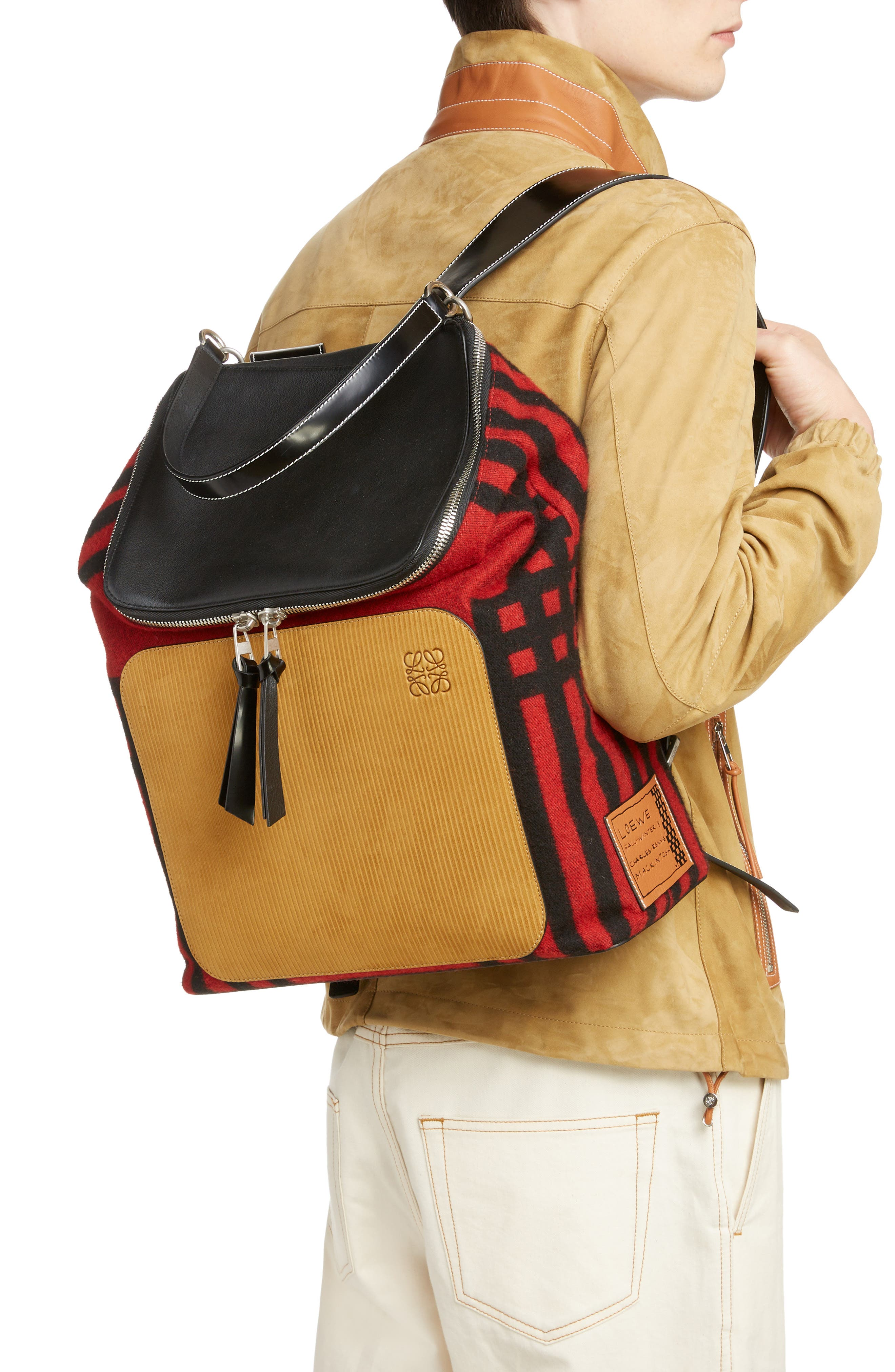 LOEWE, Goya Grid Backpack, Alternate thumbnail 2, color, SCARLET RED/BLACK