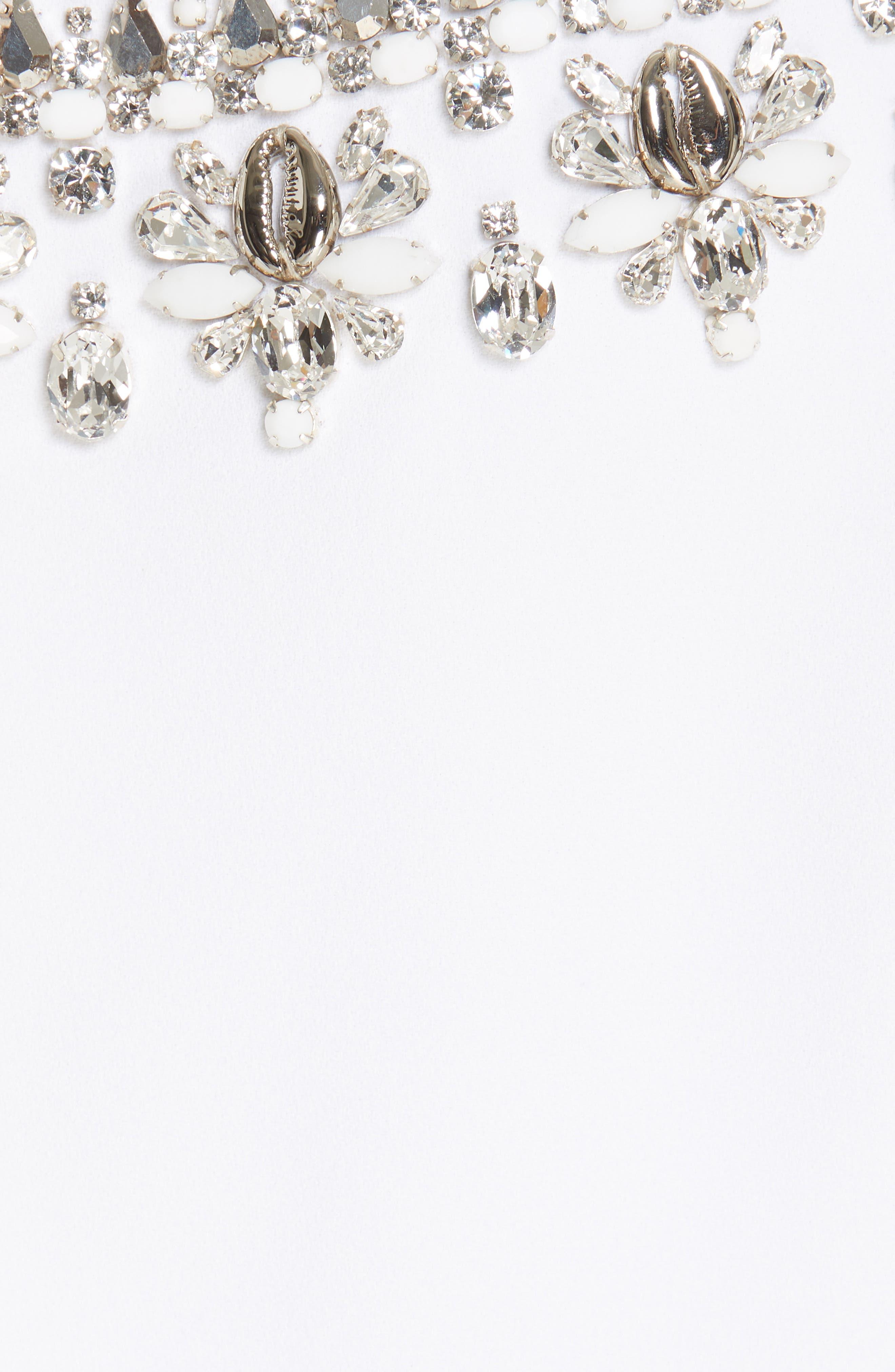 MICHAEL KORS, Crystal Embellished Split Sleeve Double Crepe Sable Dress, Alternate thumbnail 6, color, OPTIC WHITE W/ SILVER