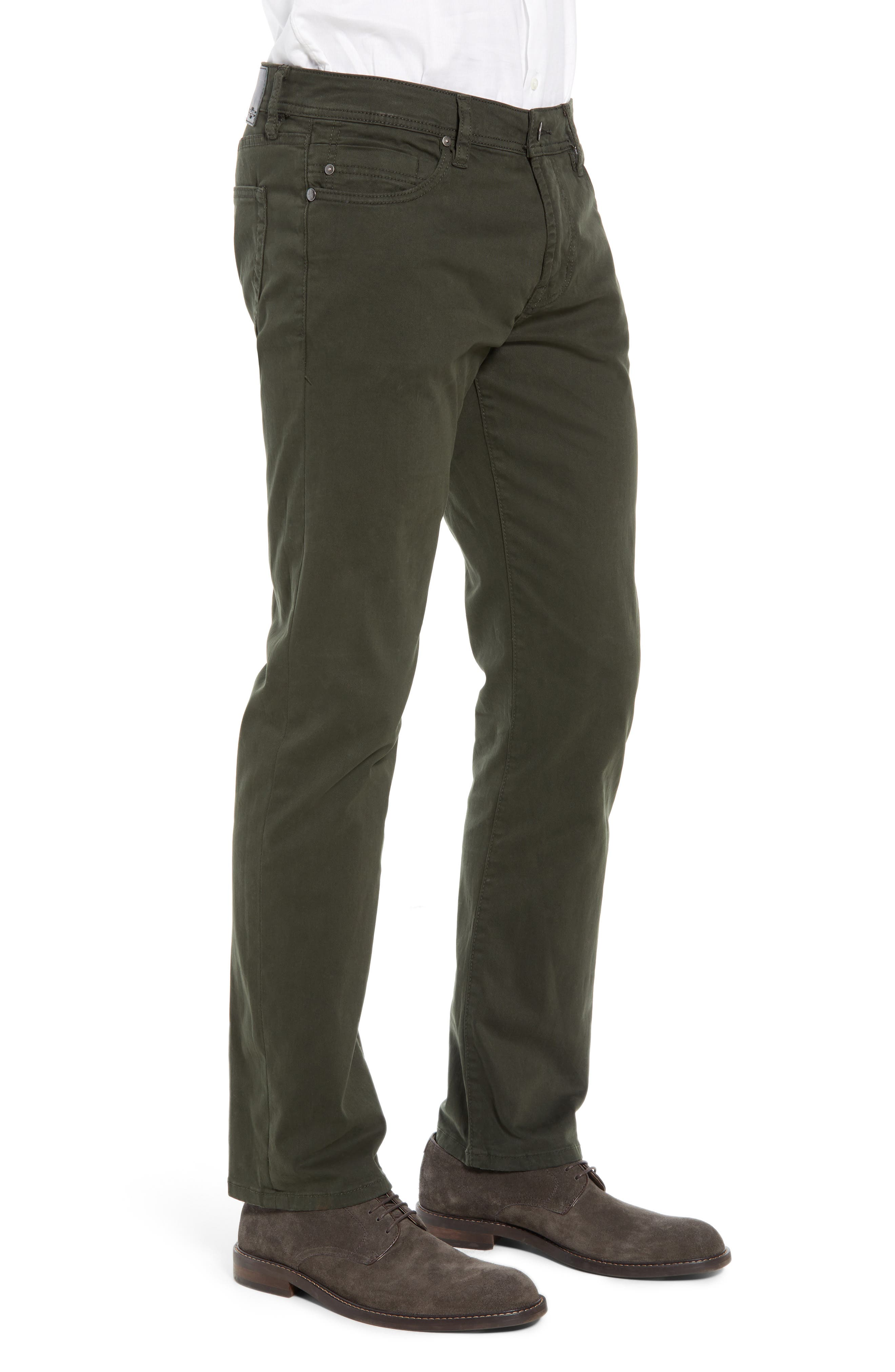 LIVERPOOL, Regent Relaxed Straight Leg Twill Pants, Alternate thumbnail 4, color, OLIVE MULCH