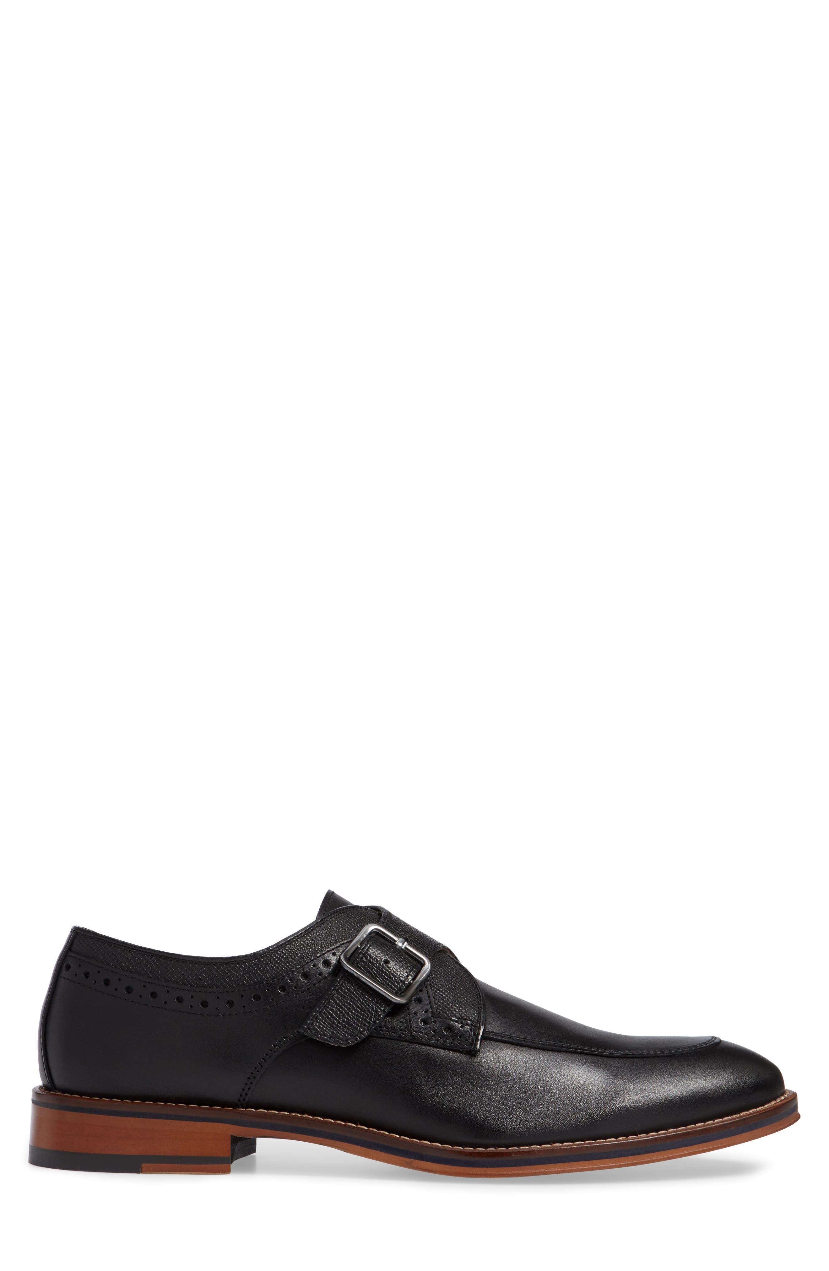 JOHNSTON & MURPHY, Conard Monk Strap Shoe, Alternate thumbnail 3, color, BLACK LEATHER
