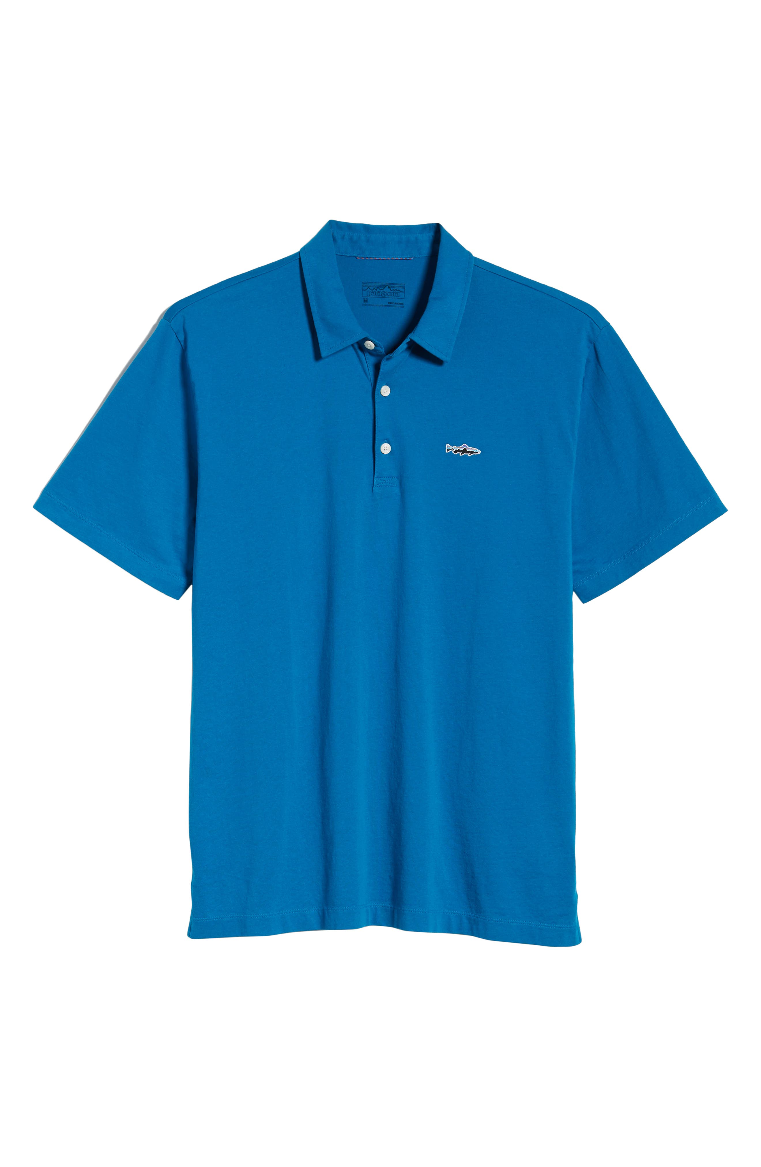 PATAGONIA, 'Trout Fitz Roy' Organic Cotton Polo, Alternate thumbnail 6, color, BALKAN BLUE