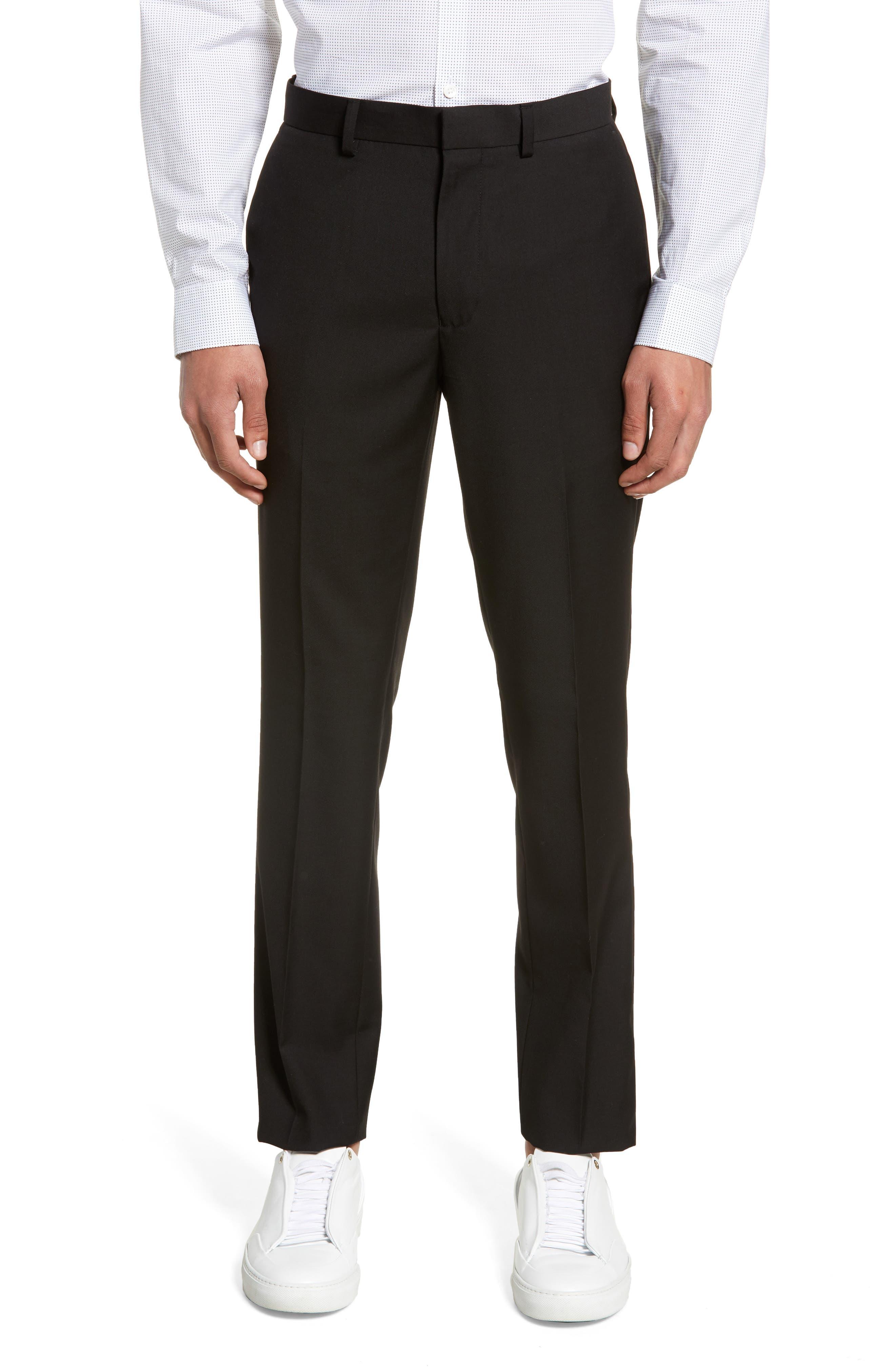 TOPMAN, Black Skinny Fit Trousers, Main thumbnail 1, color, BLACK