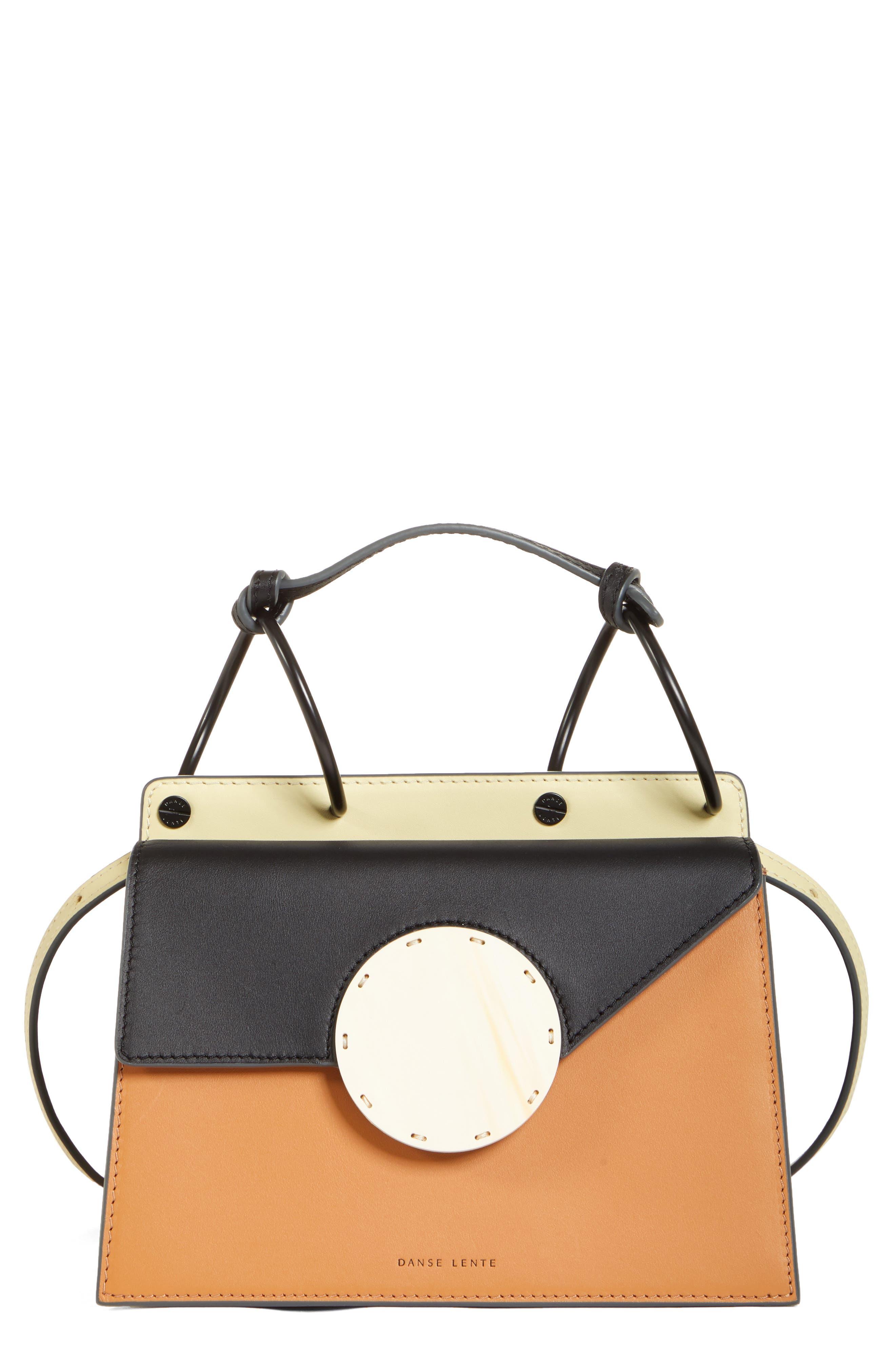 DANSE LENTE Phoebe Bis Acetate Closure Crossbody Bag, Main, color, TOFFEE/ BLACK