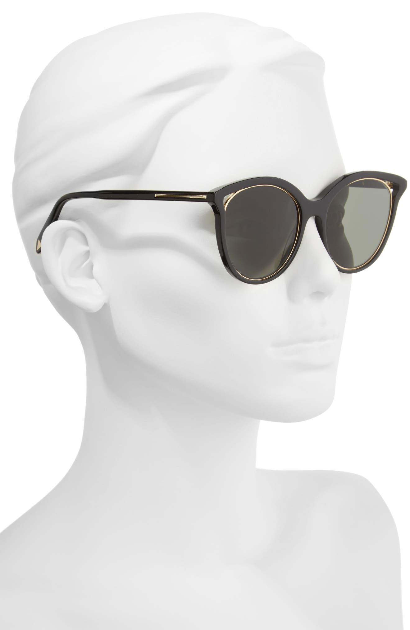 VICTORIA BECKHAM, Cutaway Kitten 54mm Cat Eye Sunglasses, Alternate thumbnail 2, color, BLACK/ GOLD