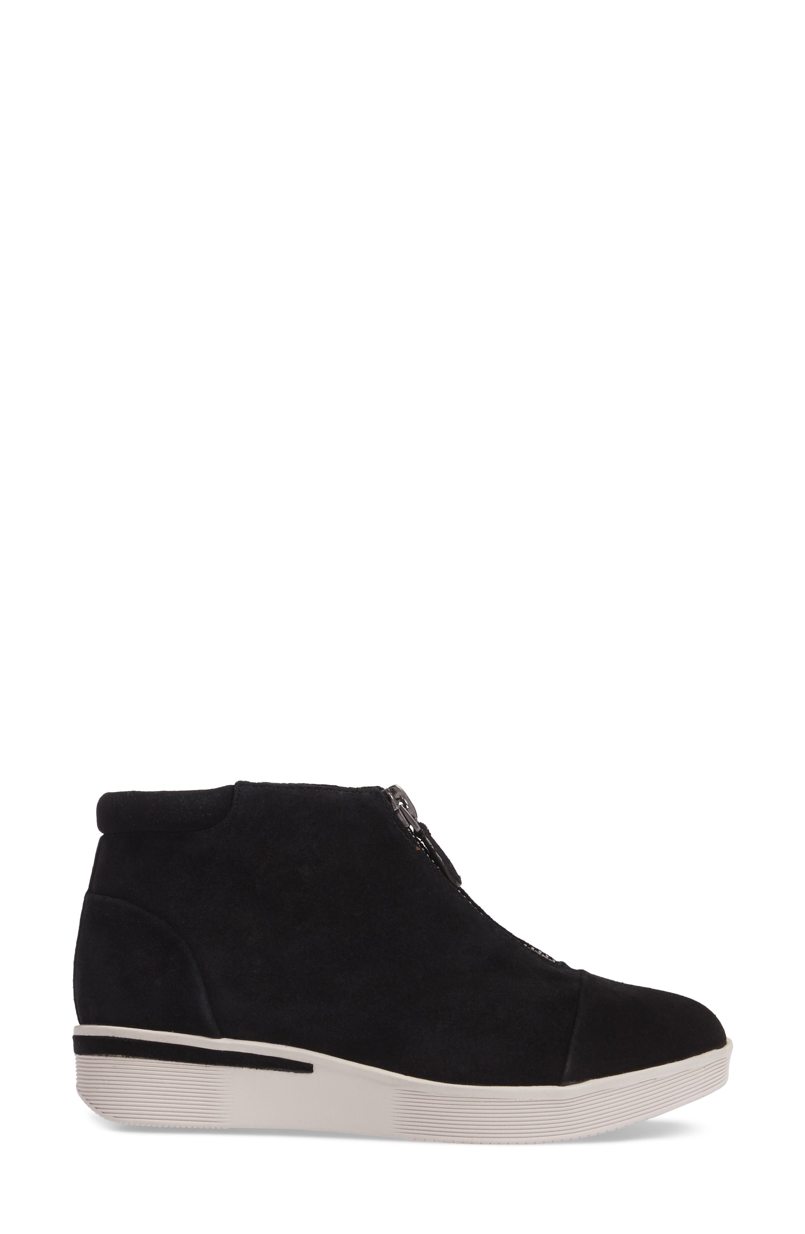 GENTLE SOULS BY KENNETH COLE, Hazel Fay High Top Sneaker, Alternate thumbnail 3, color, BLACK SUEDE