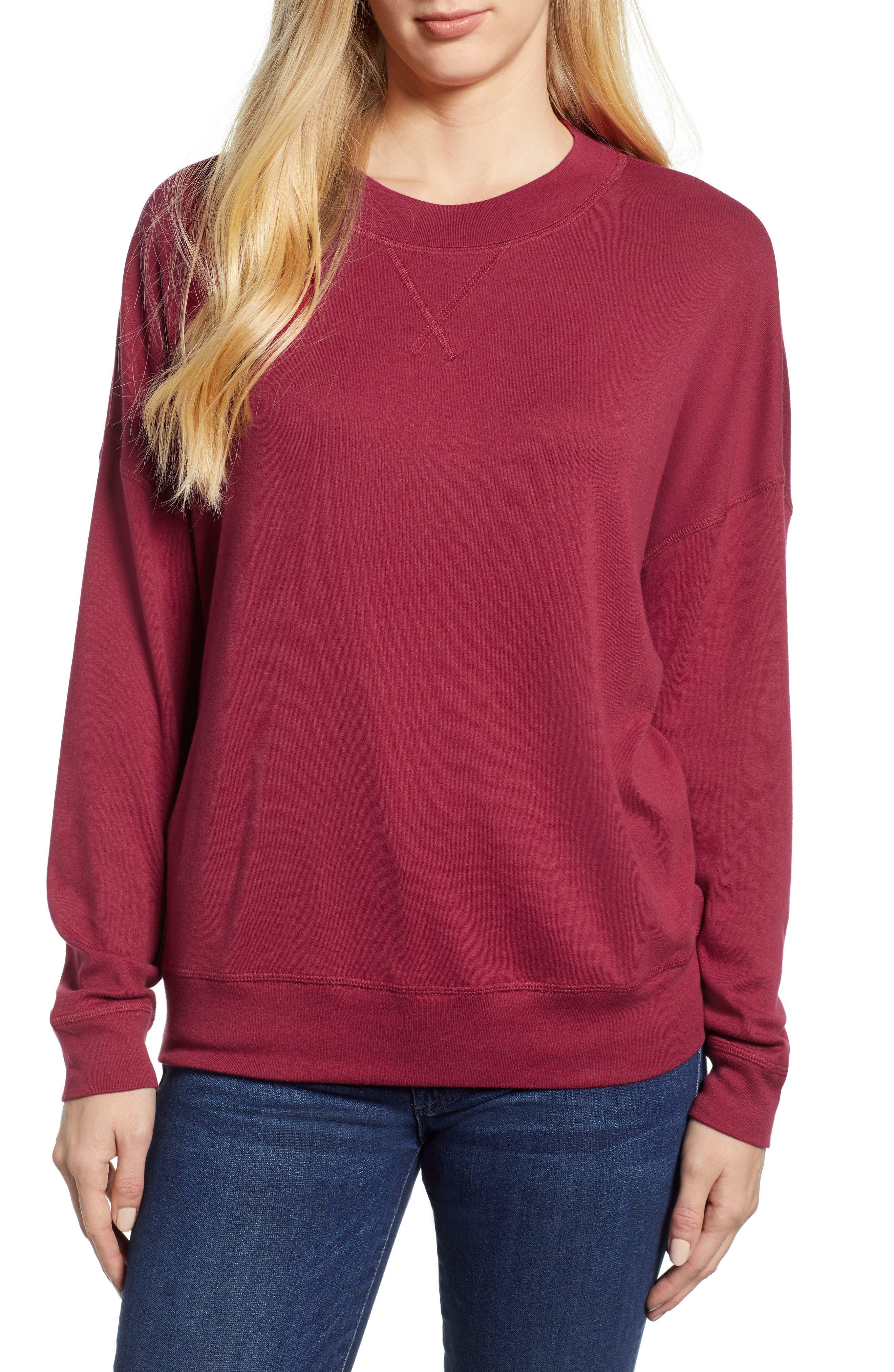 CASLON<SUP>®</SUP> Sweatshirt, Main, color, RED RUMBA