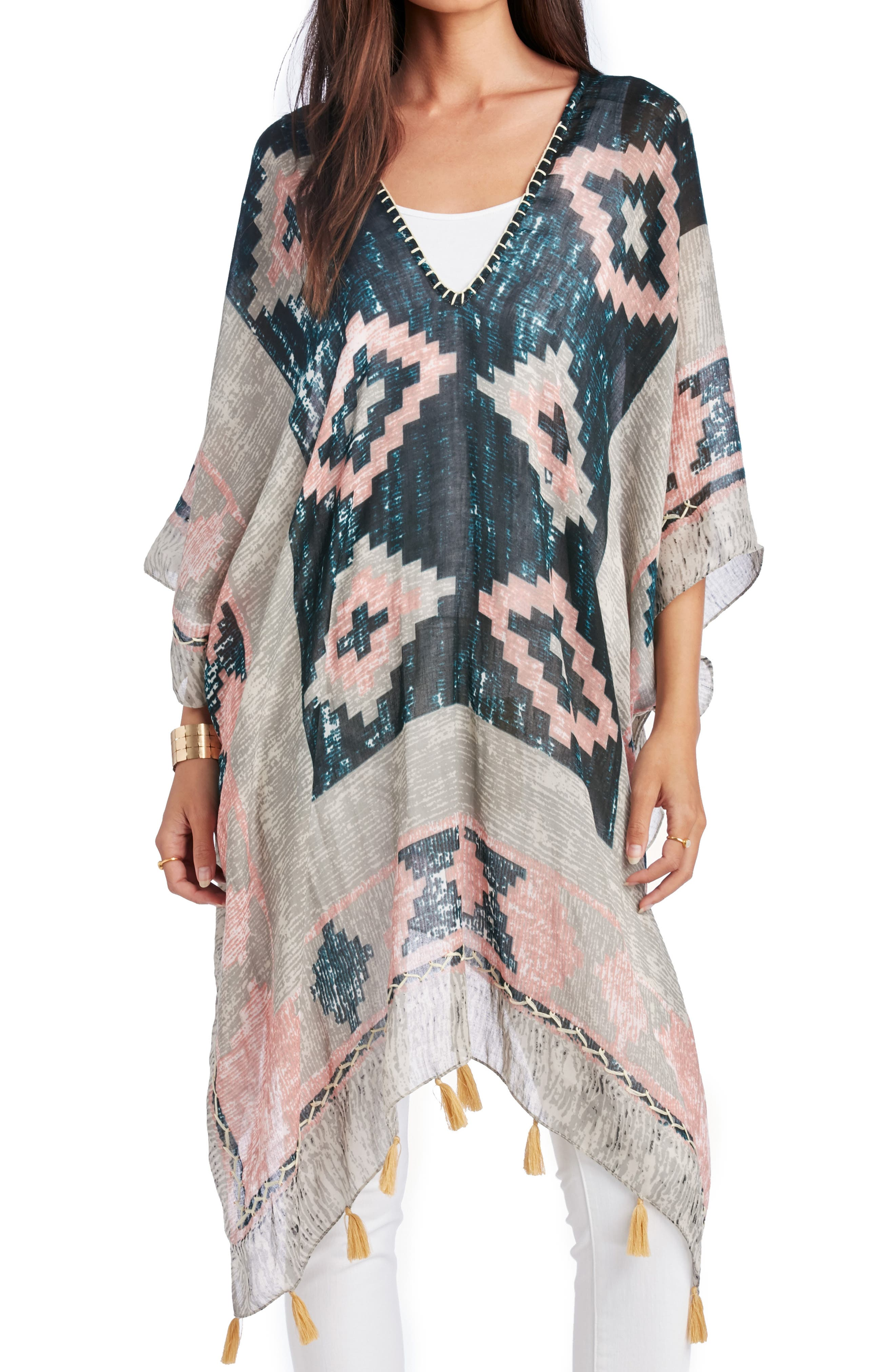 SOLE SOCIETY Geo Print Tassel Caftan, Main, color, MULTI