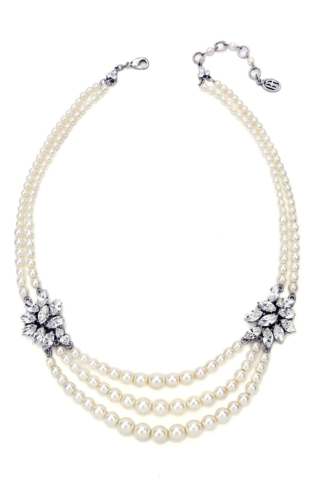 BEN-AMUN, Faux Pearl & Crystal Multistrand Necklace, Main thumbnail 1, color, IVORY/ CLEAR