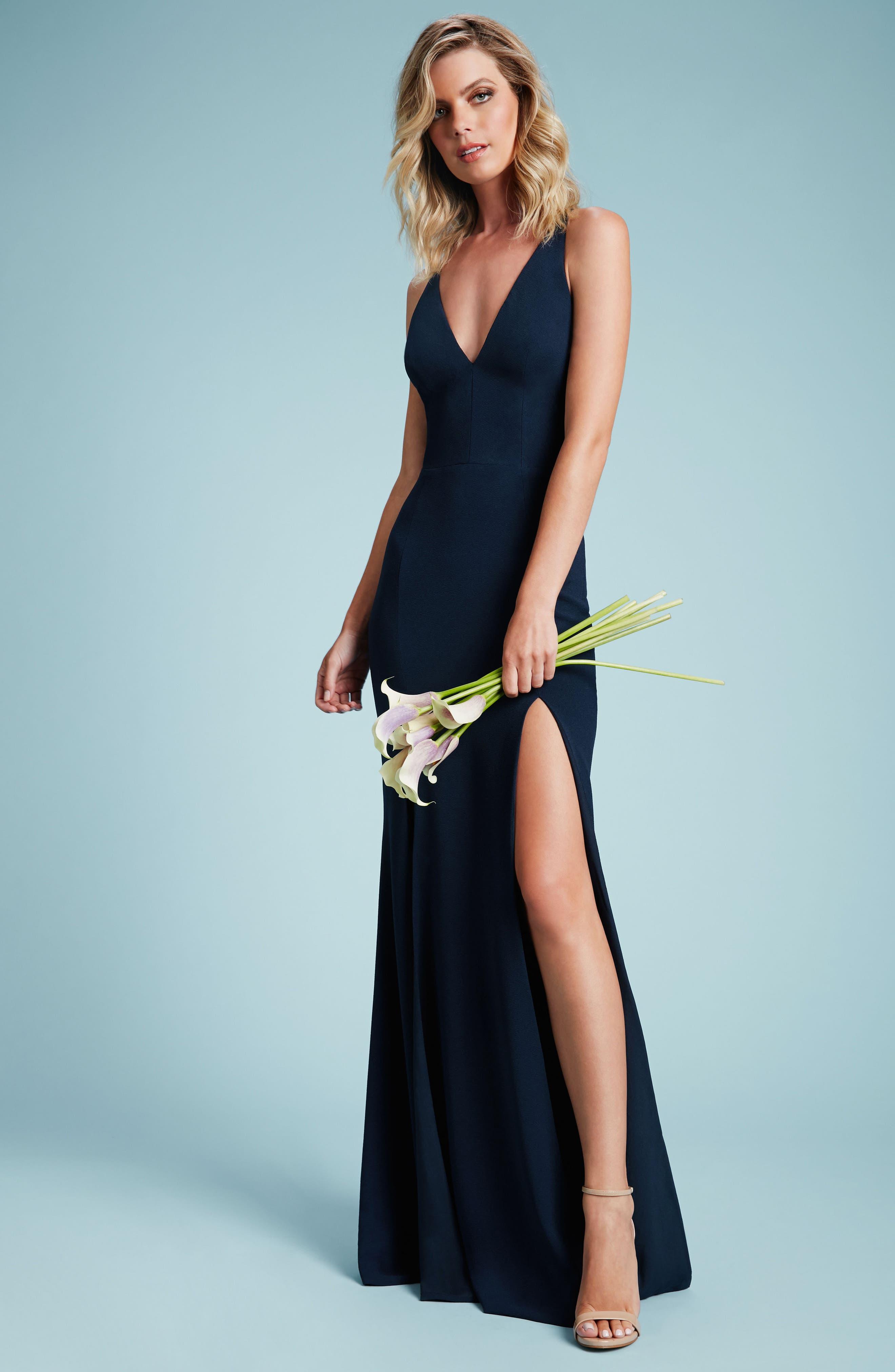 DRESS THE POPULATION, Iris Slit Crepe Gown, Alternate thumbnail 10, color, BLACK