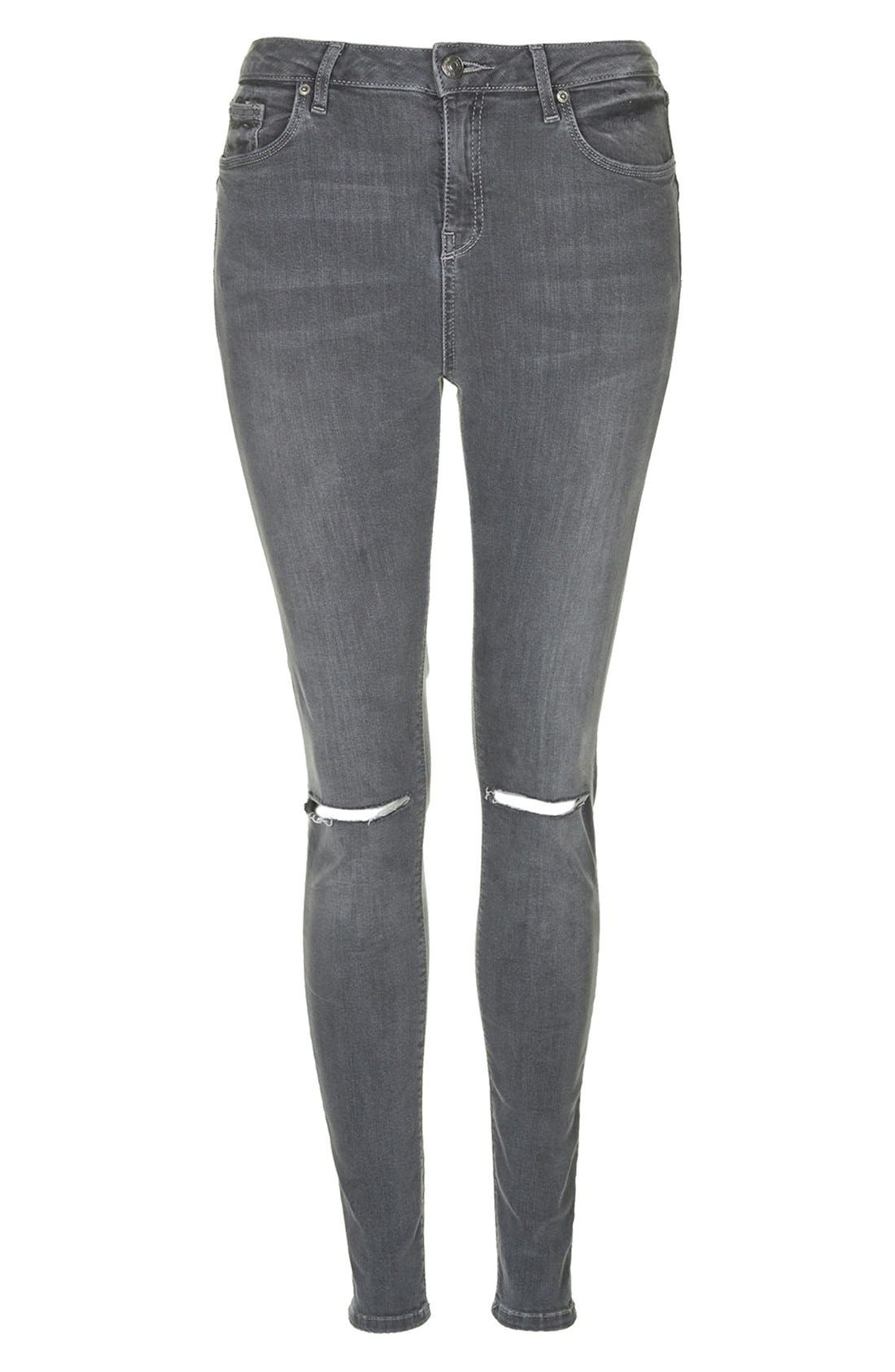 TOPSHOP, Moto 'Jamie' Ripped Skinny Jeans, Alternate thumbnail 5, color, 020