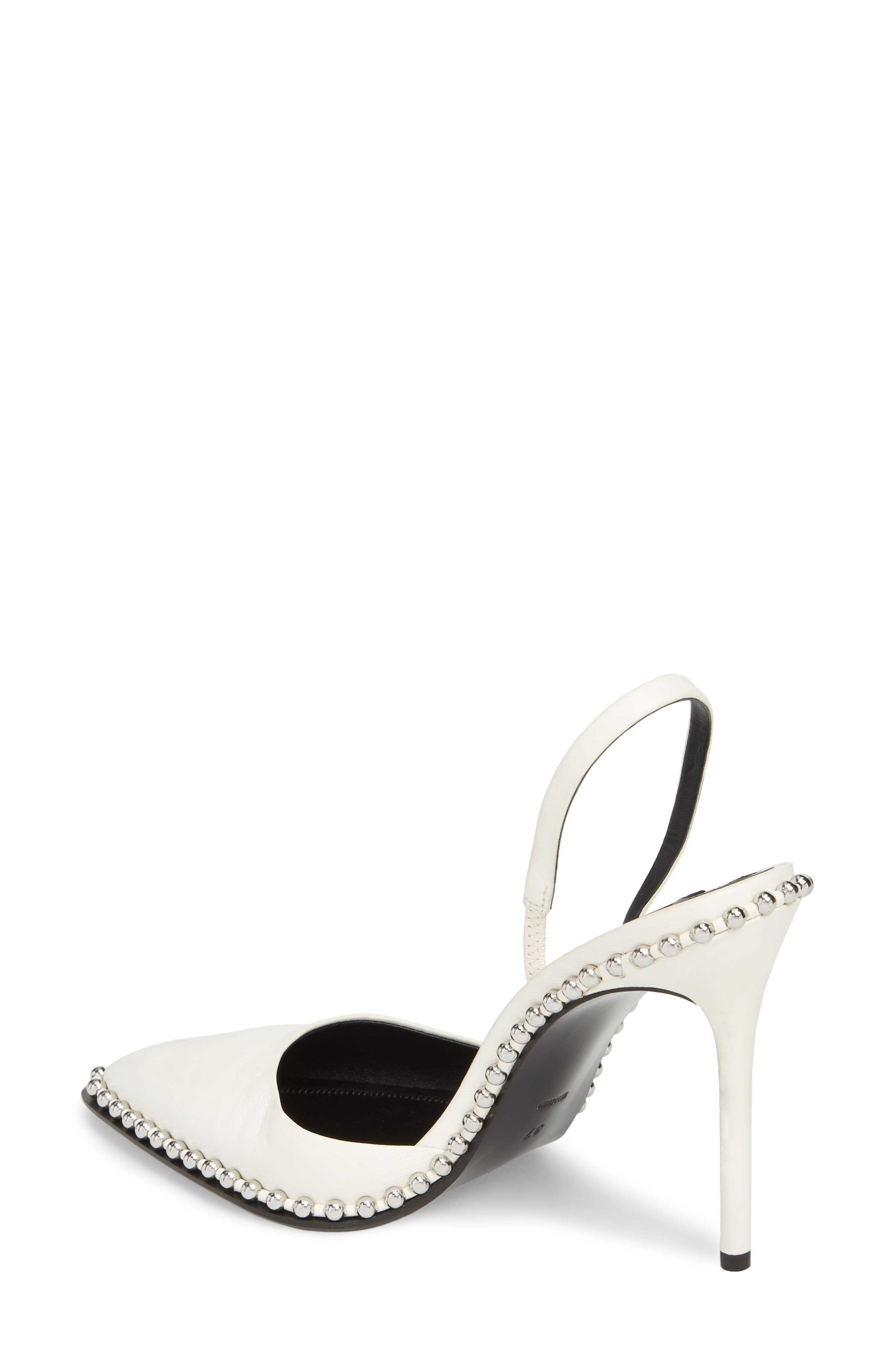 ALEXANDER WANG, Rina Beaded Pump, Alternate thumbnail 2, color, WHITE LEATHER