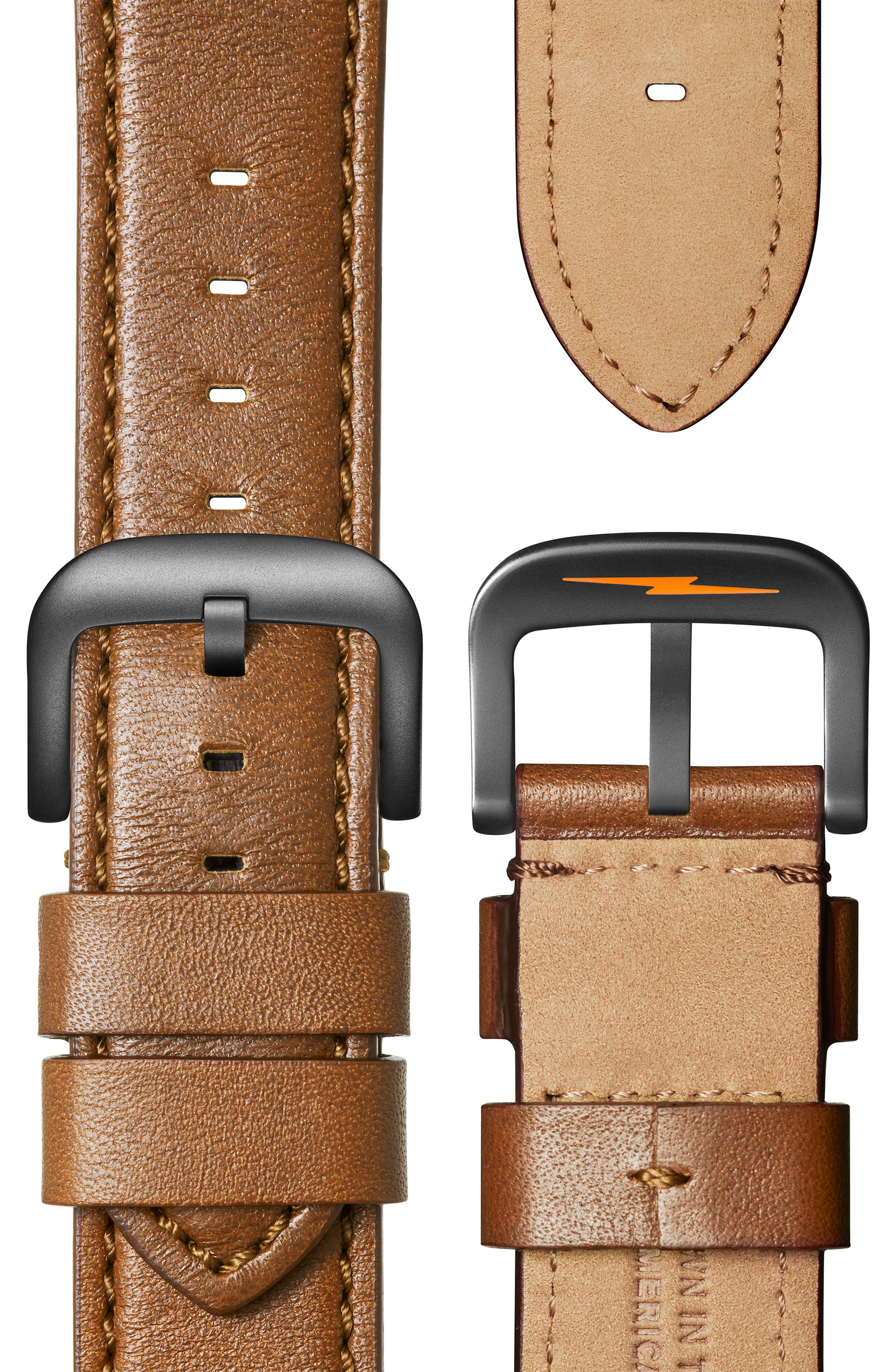 SHINOLA, The Runwell Chrono Leather Strap Watch, 47mm, Alternate thumbnail 4, color, TAN/ SPRUCE/ GUNMETAL