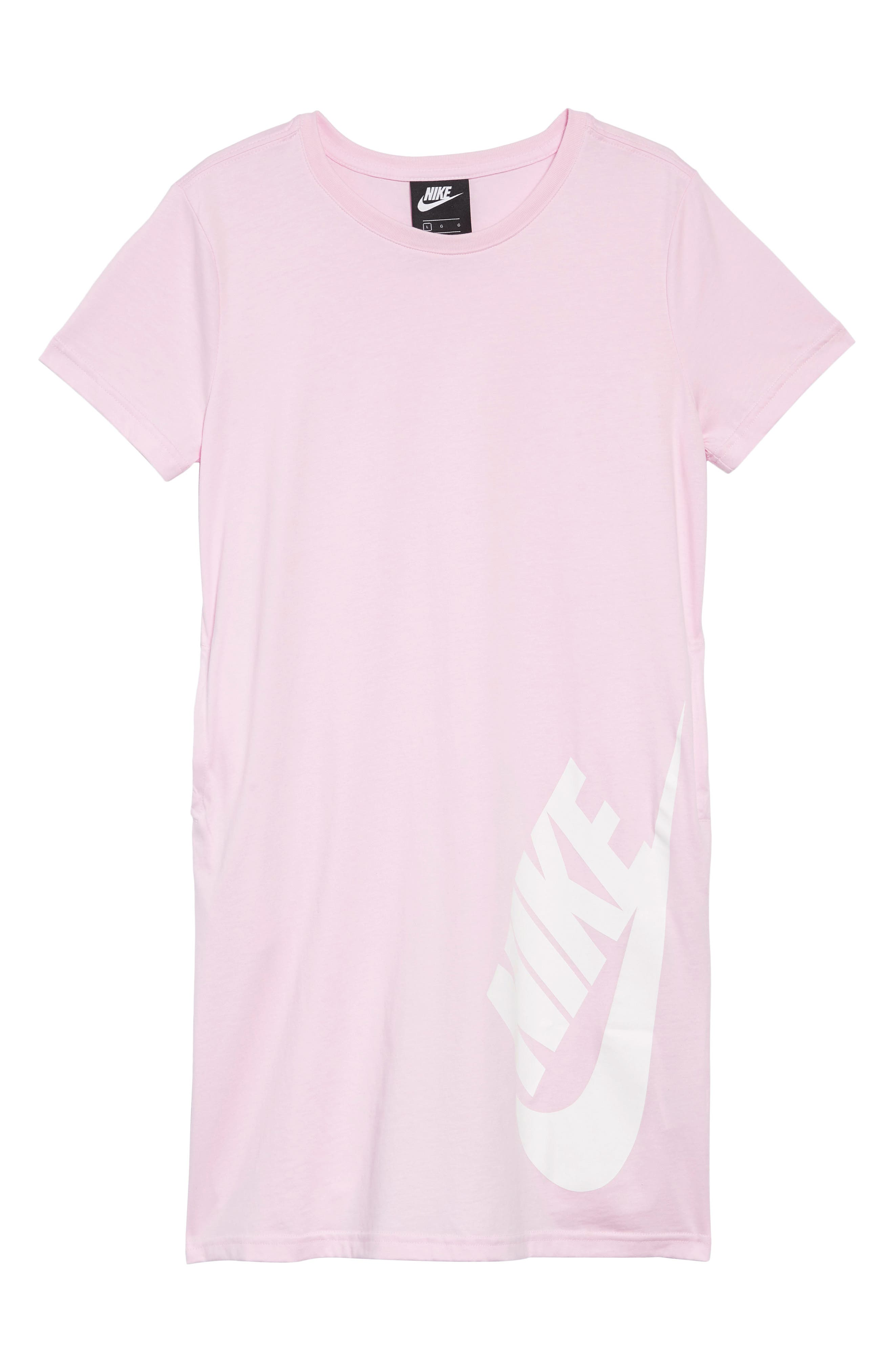 NIKE, Sportswear Logo Shirtdress, Main thumbnail 1, color, PINK FOAM / BORDEAUX