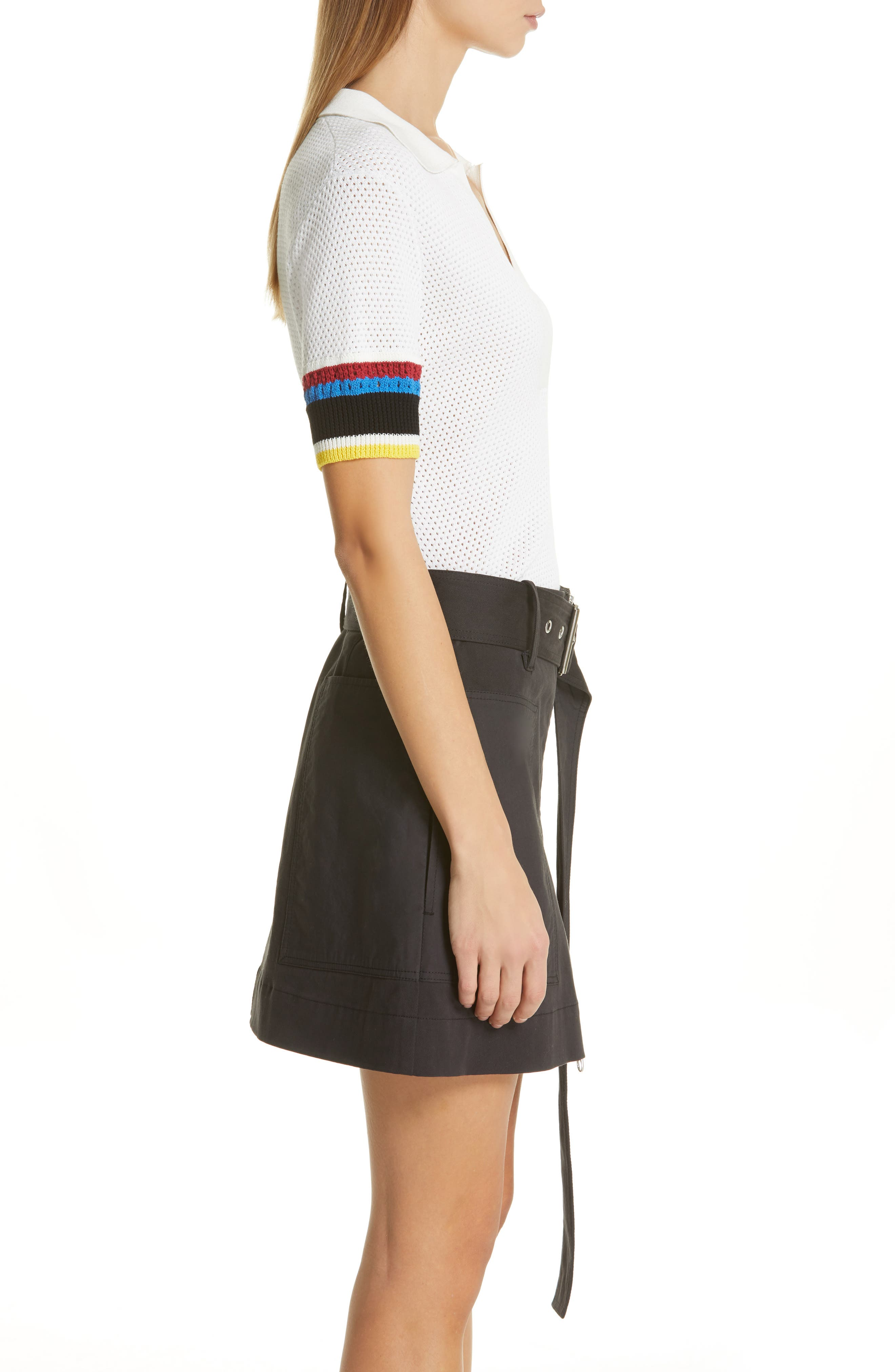 PROENZA SCHOULER, PSWL Stripe Sleeve Polo Top, Alternate thumbnail 3, color, OFF WHITE