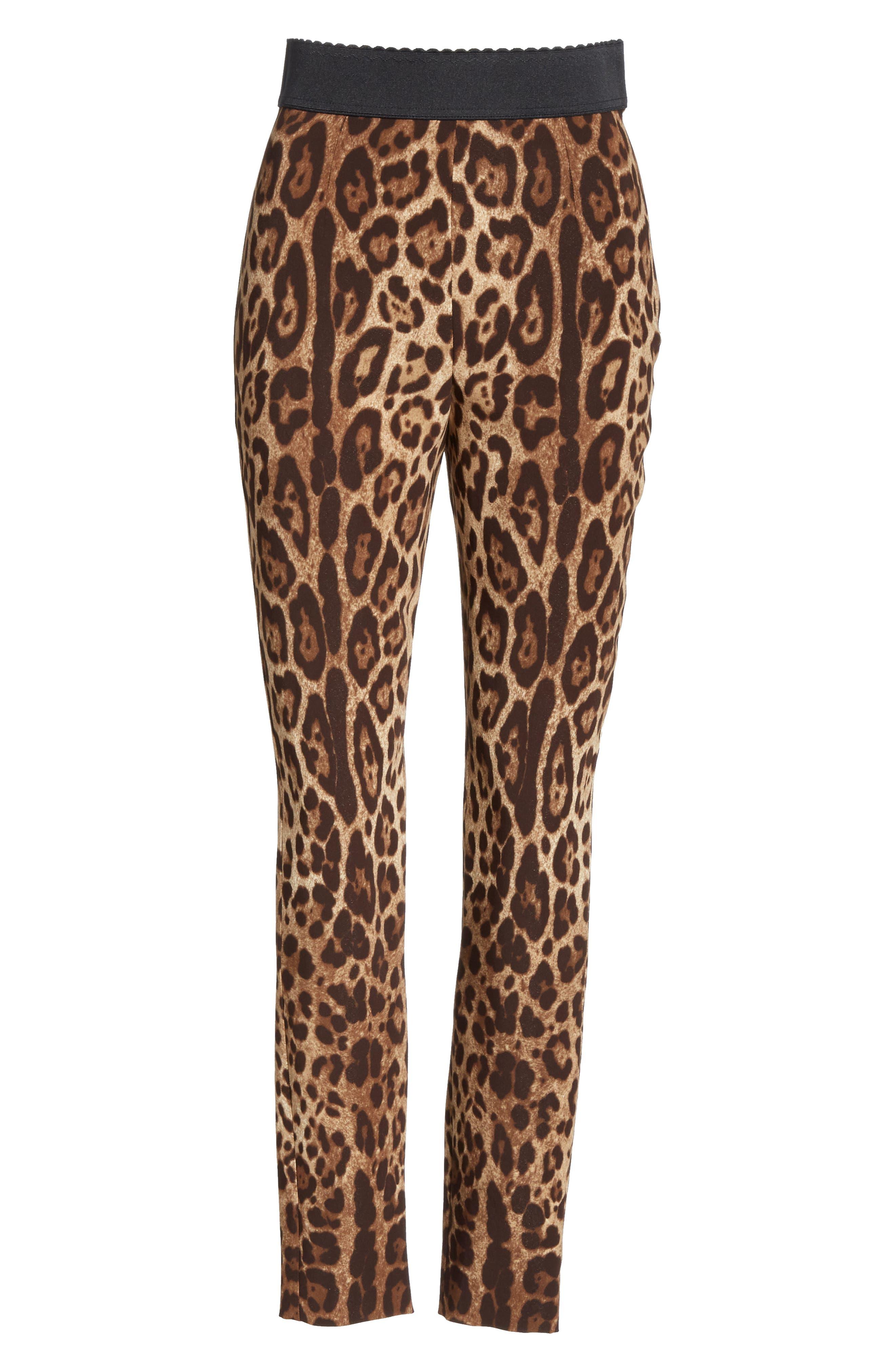 DOLCE&GABBANA, Leopard Print Cady Leggings, Alternate thumbnail 6, color, LEO