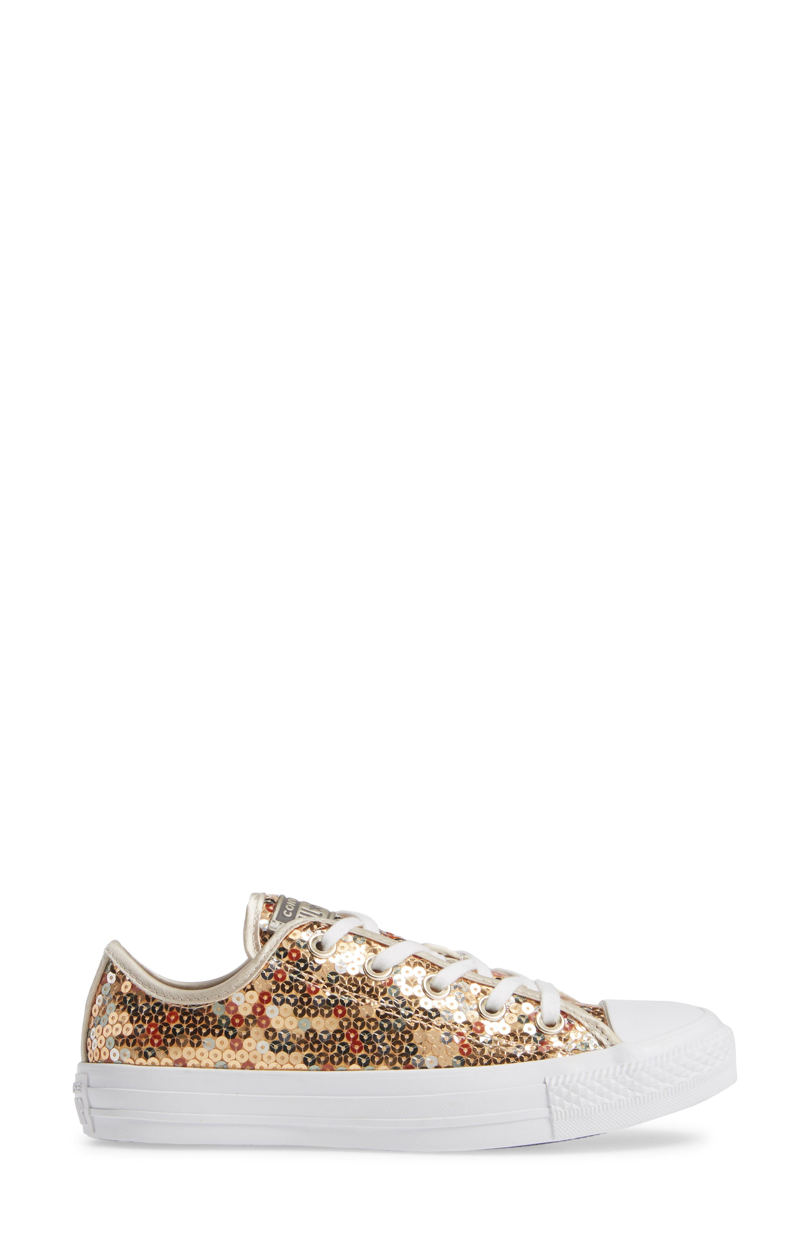 CONVERSE, Chuck Taylor<sup>®</sup> All Star<sup>®</sup> Sequin Low Top Sneaker, Alternate thumbnail 3, color, GOLD SEQUINS