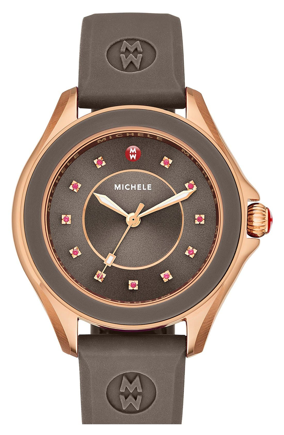 MICHELE, 'Cape' Topaz Dial Silicone Strap Watch, 40mm, Main thumbnail 1, color, 200