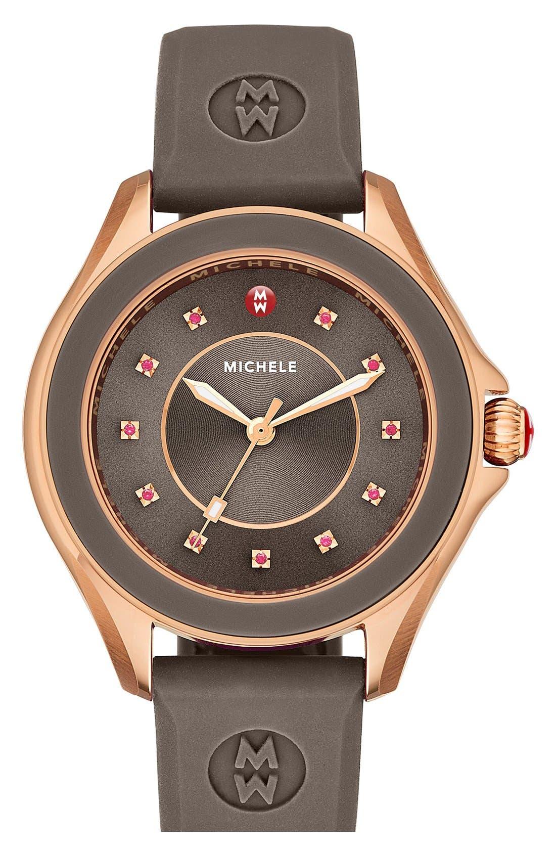 MICHELE 'Cape' Topaz Dial Silicone Strap Watch, 40mm, Main, color, 200