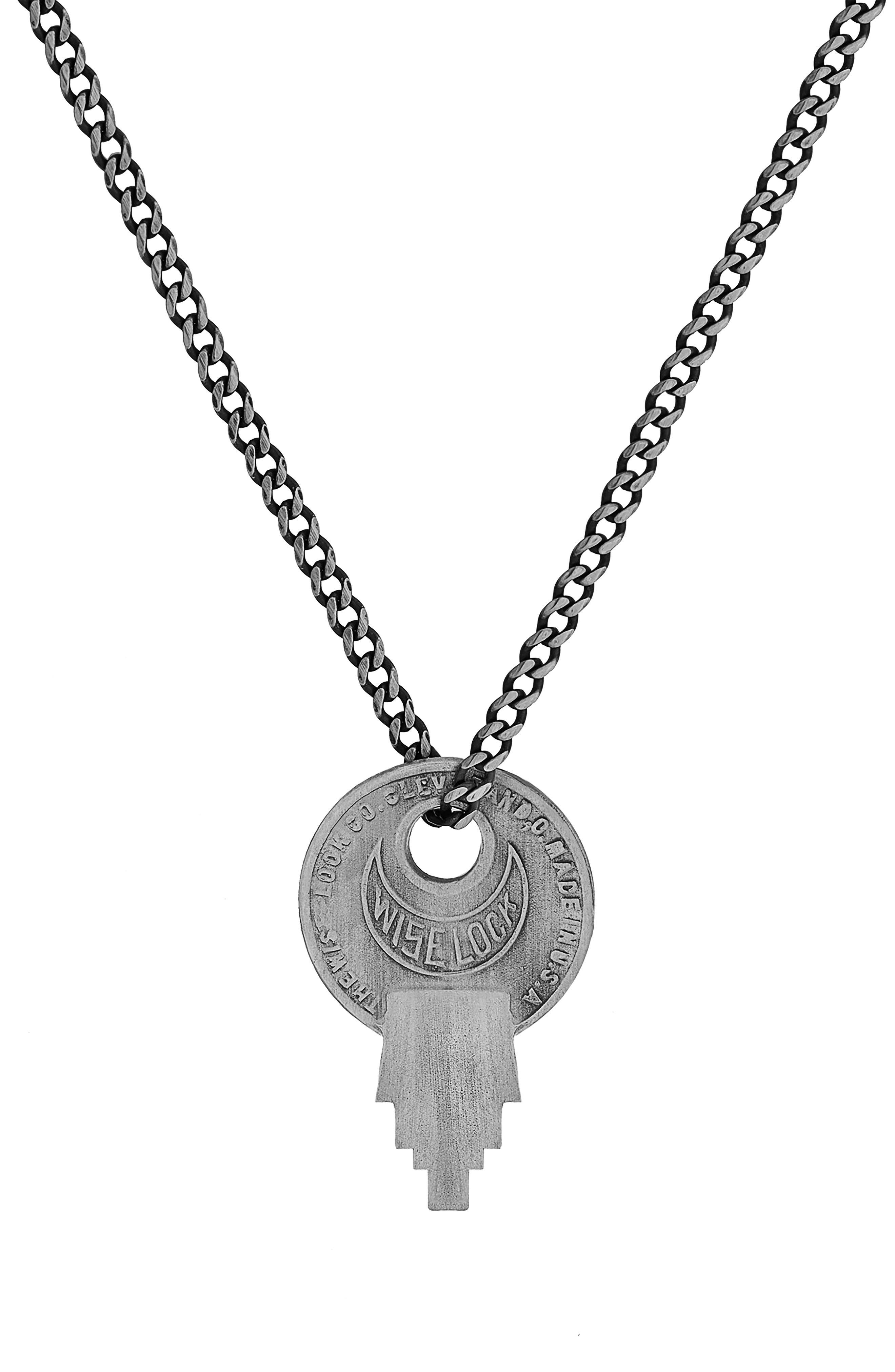MIANSAI, Wise Lock Sterling Silver Pendant Necklace, Main thumbnail 1, color, BRUSHED SILVER