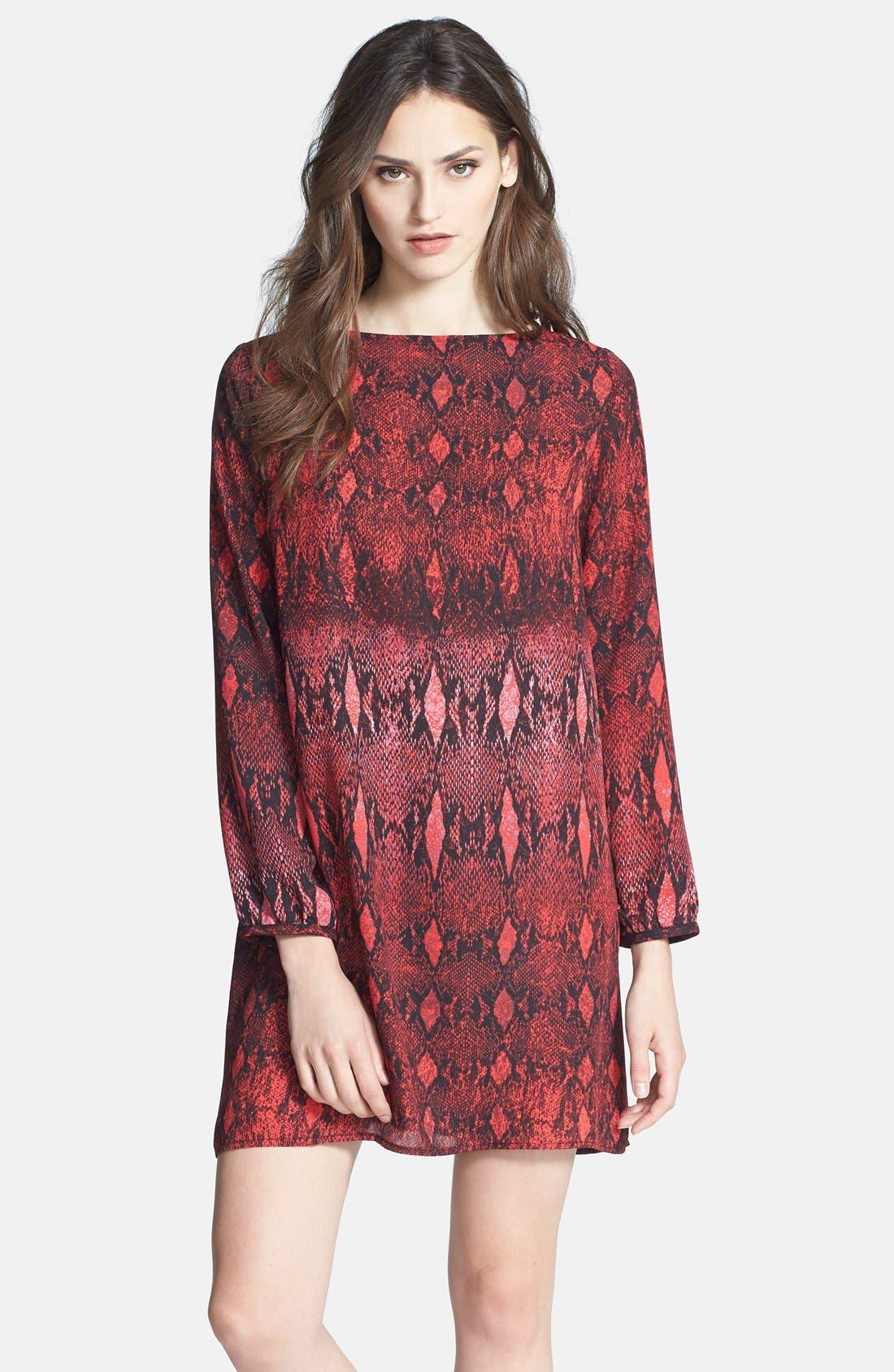 BB DAKOTA 'Vasha' Snakeskin Print Shift Dress, Main, color, 600