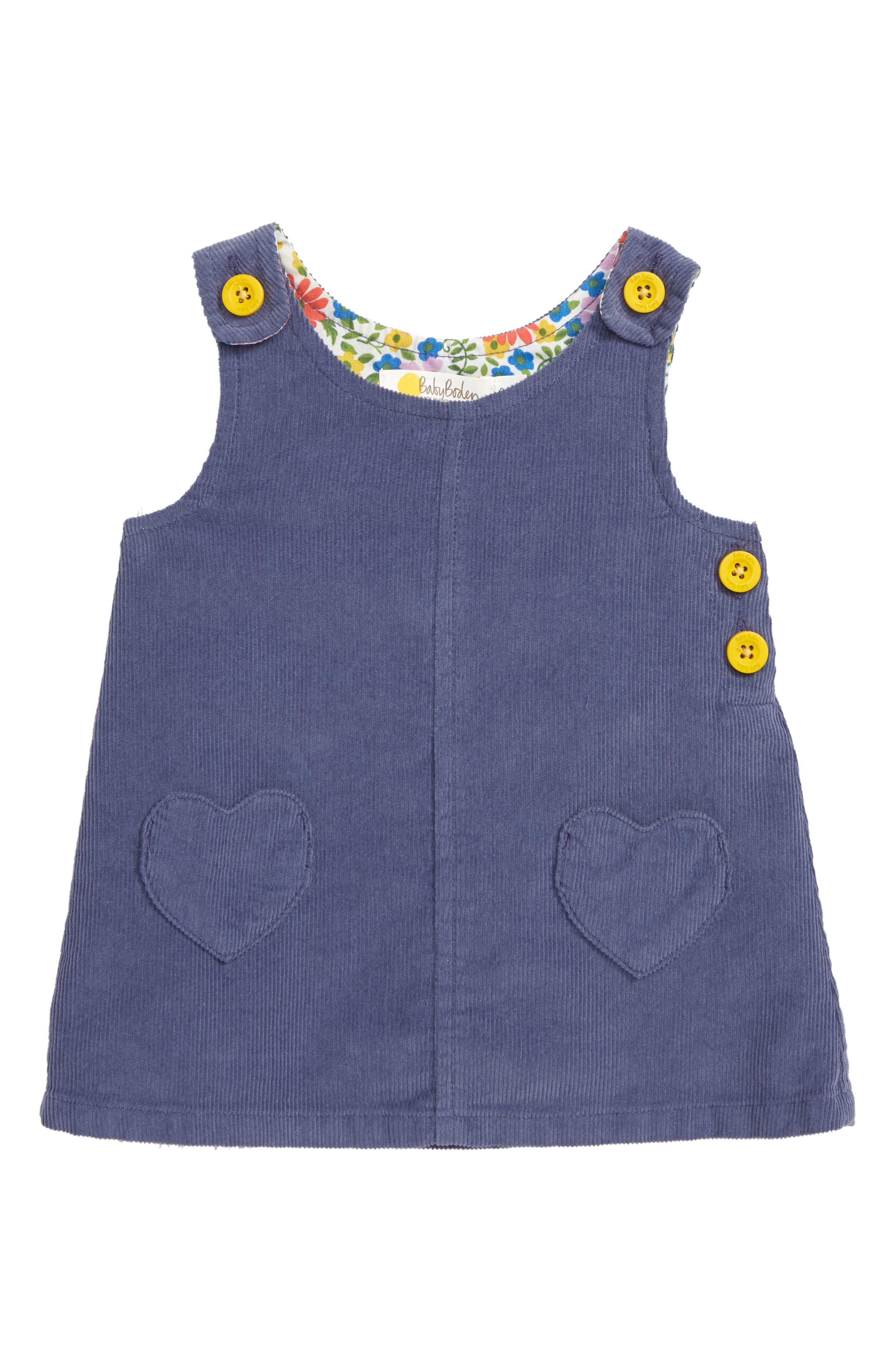 MINI BODEN Patch Pocket Corduroy Dress, Main, color, PRP VIOLET GREY