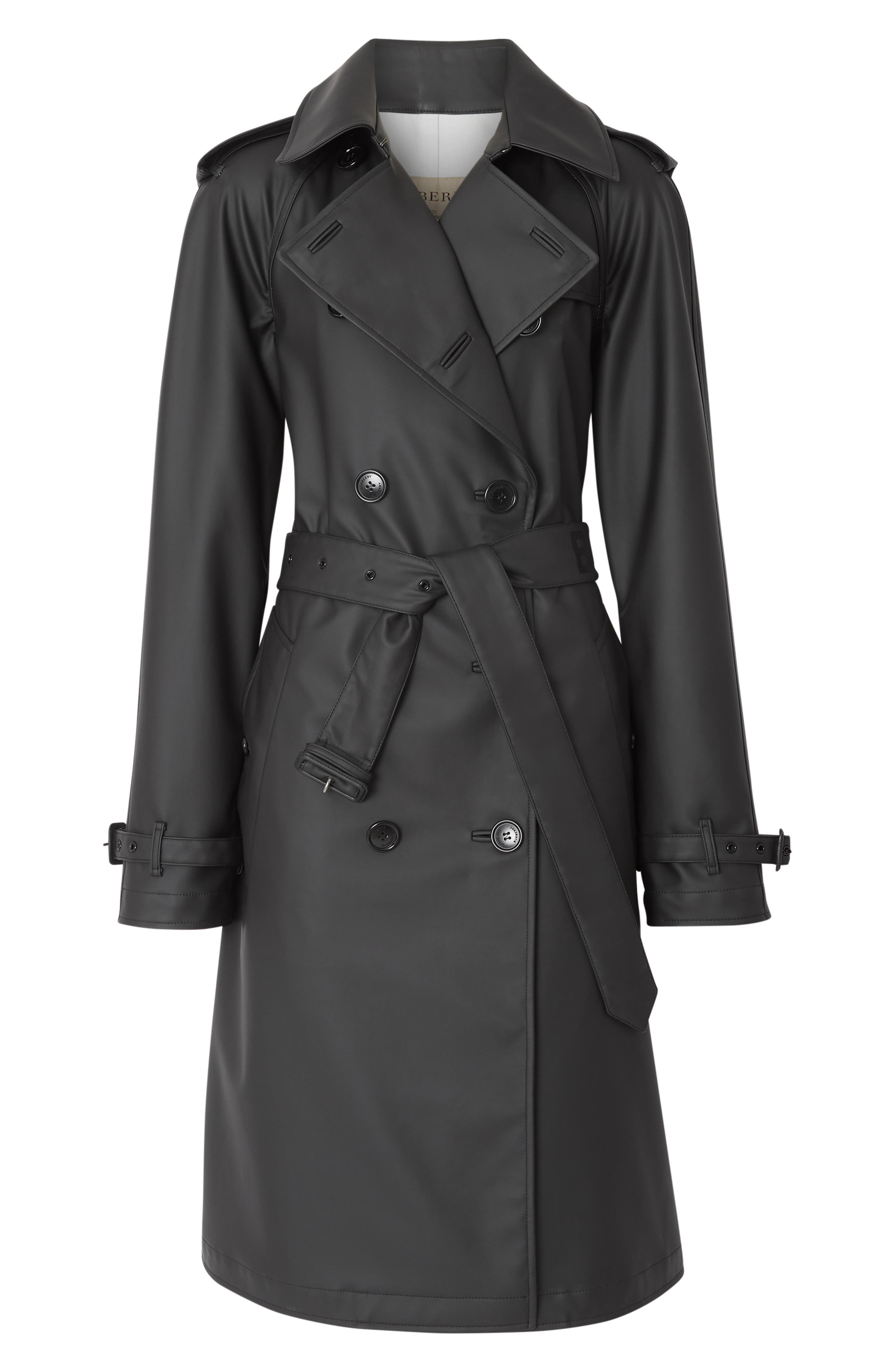 BURBERRY, Curradine Waterproof Rubberized Trench Coat, Alternate thumbnail 2, color, BLACK / WHITE