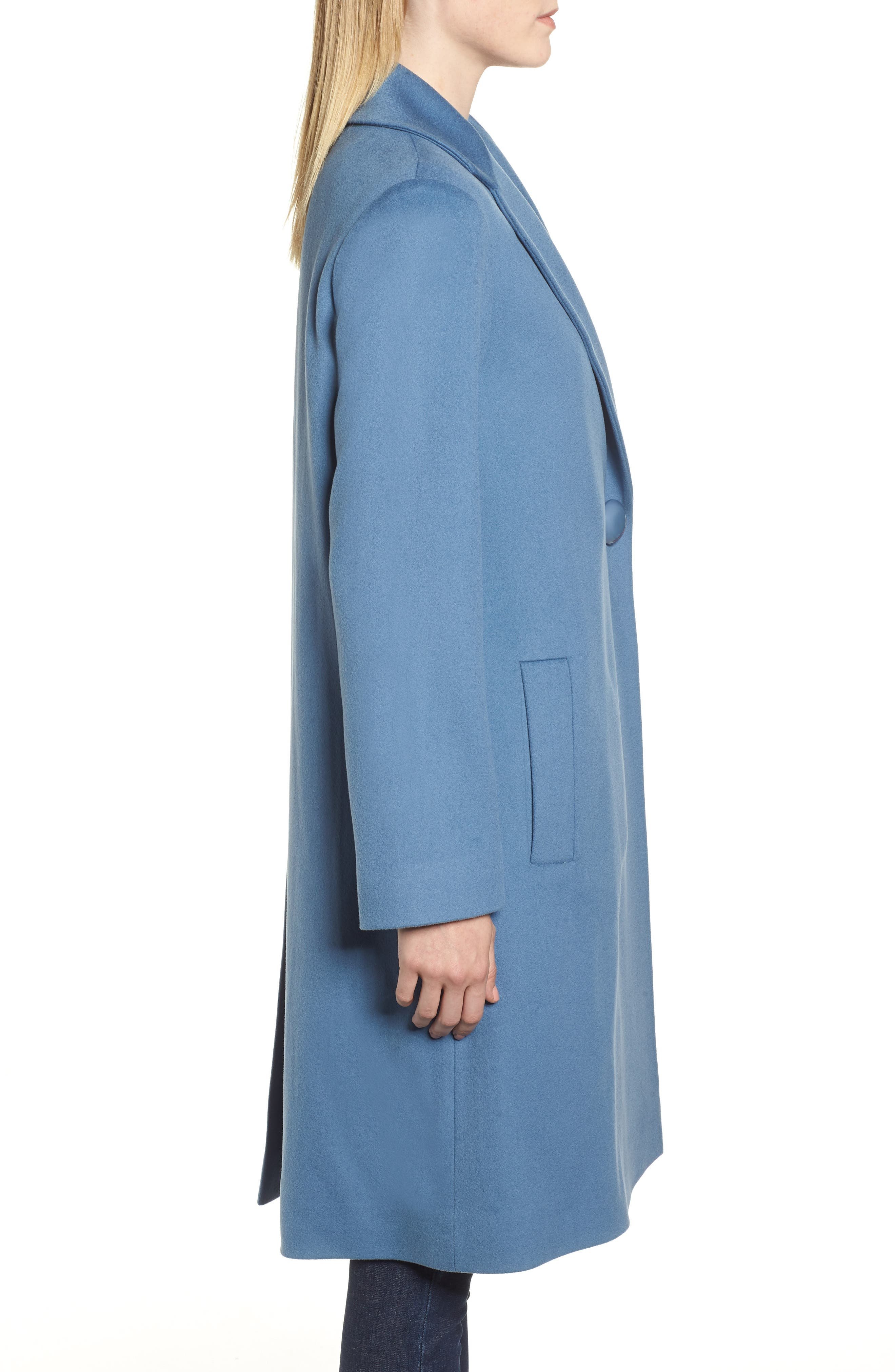 FLEURETTE, One-Button Loro Piana Wool Coat, Alternate thumbnail 4, color, CORNFLOWER