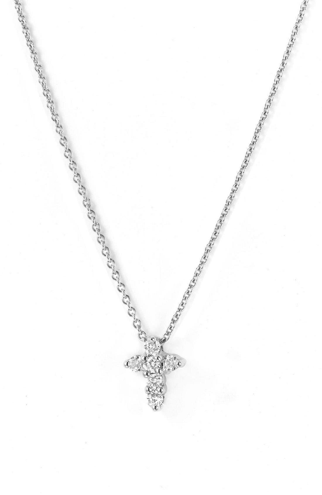 ROBERTO COIN, 'Tiny Treasures' Diamond Cross Pendant Necklace, Main thumbnail 1, color, WGO