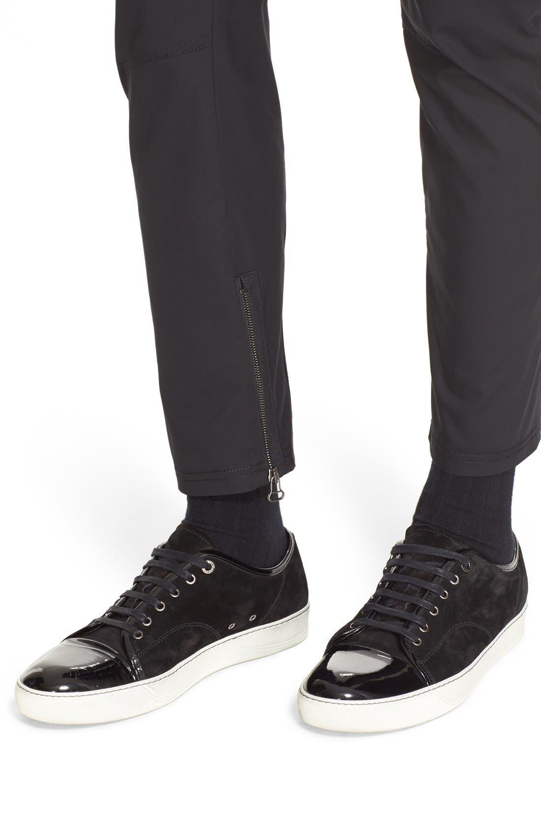 LANVIN, Cotton Biker Pants, Alternate thumbnail 3, color, 001