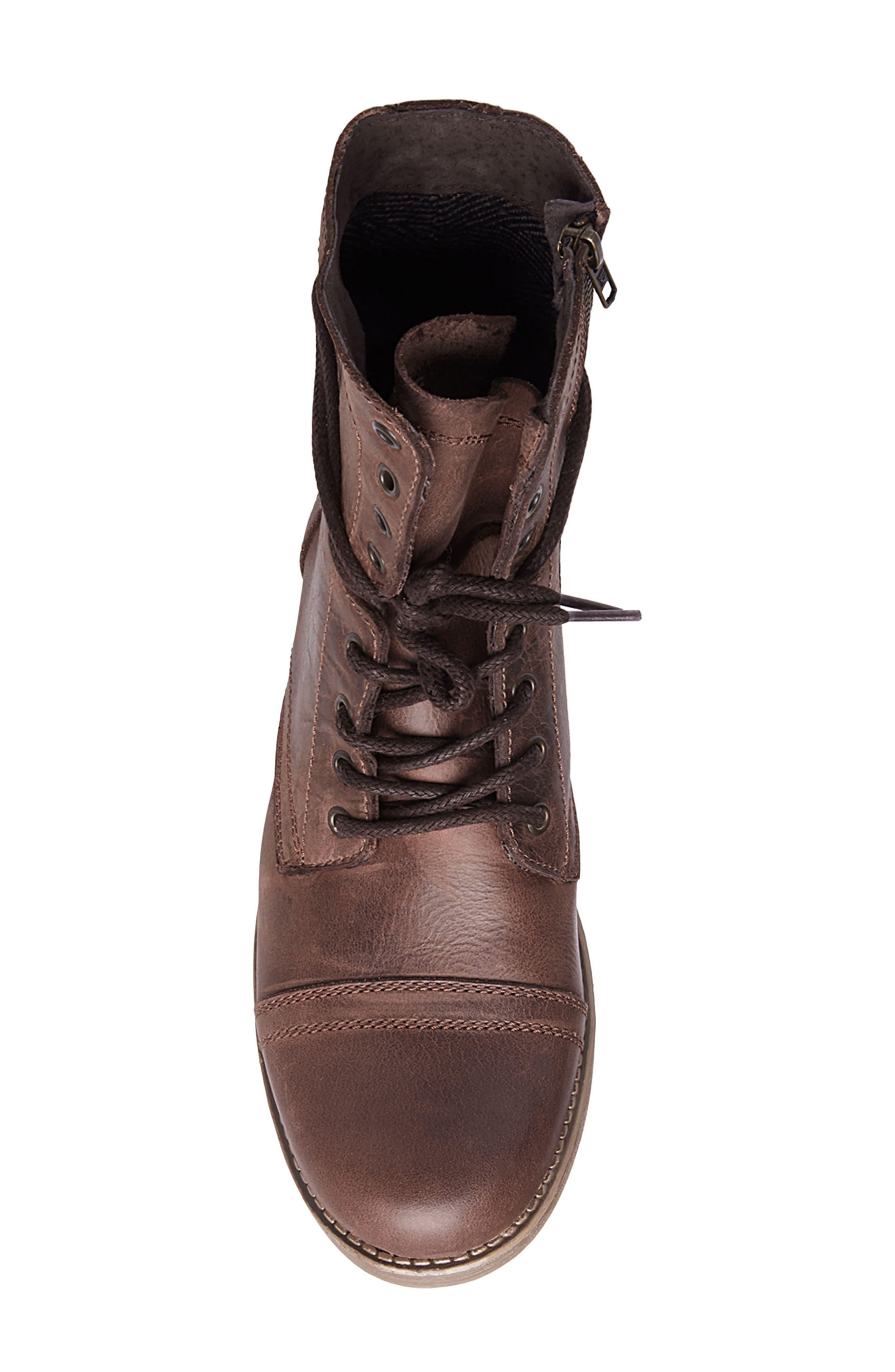 STEVE MADDEN, Troopah-C Cap Toe Boot, Alternate thumbnail 5, color, BROWN LEATHER