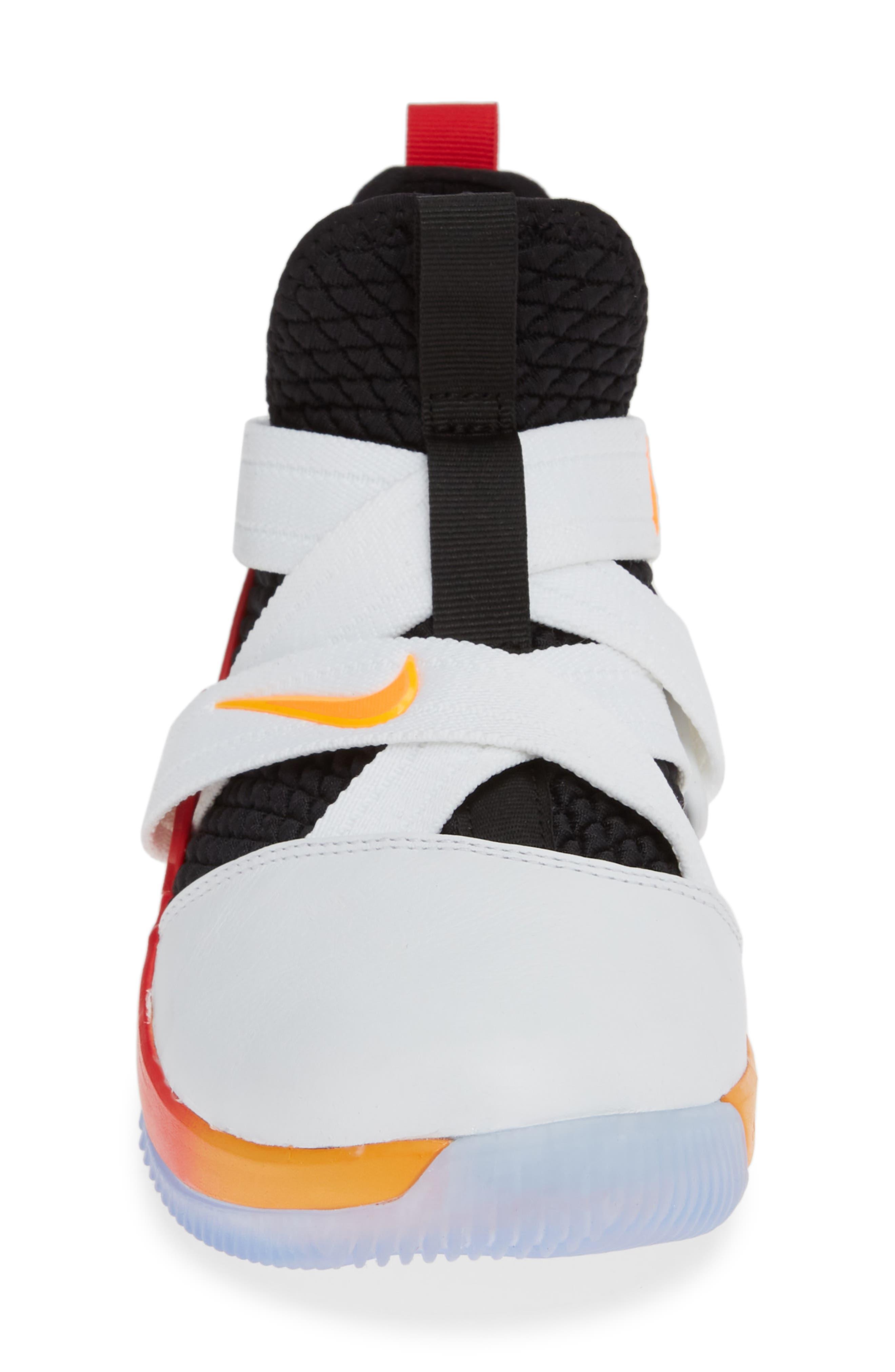 NIKE, LeBron Soldier XII Basketball Shoe, Alternate thumbnail 4, color, WHITE/ LASER ORANGE-BLACK-RED