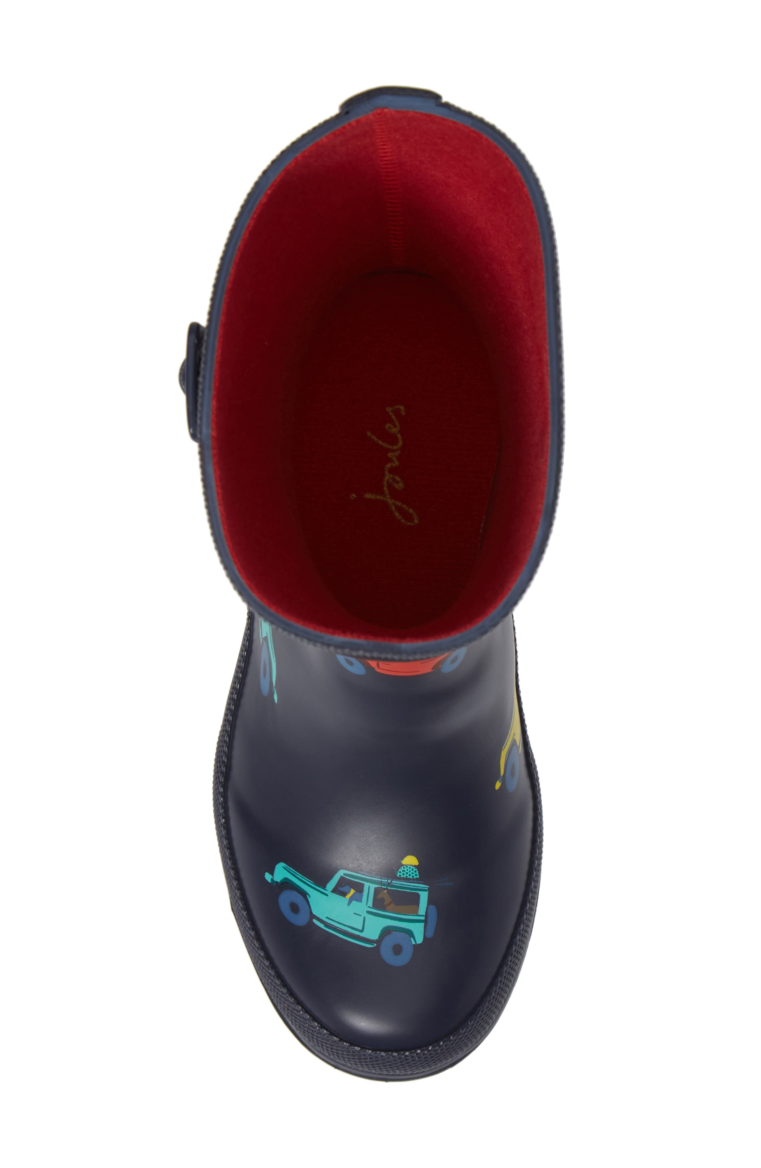 JOULES, Welly Print Waterproof Rain Boot, Alternate thumbnail 5, color, NAVY SCOUT AND ABOUT