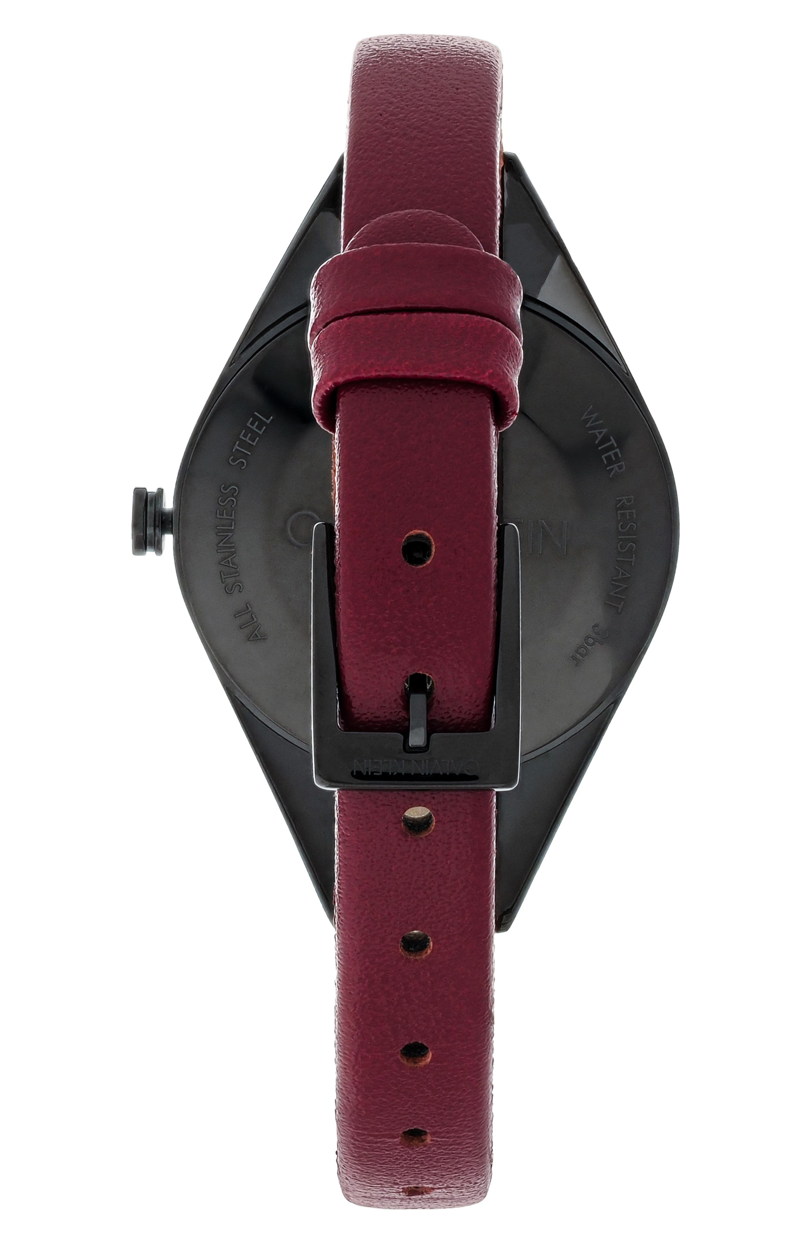 CALVIN KLEIN, Achieve Rebel Leather Band Watch, 29mm, Alternate thumbnail 2, color, RED/ BLACK