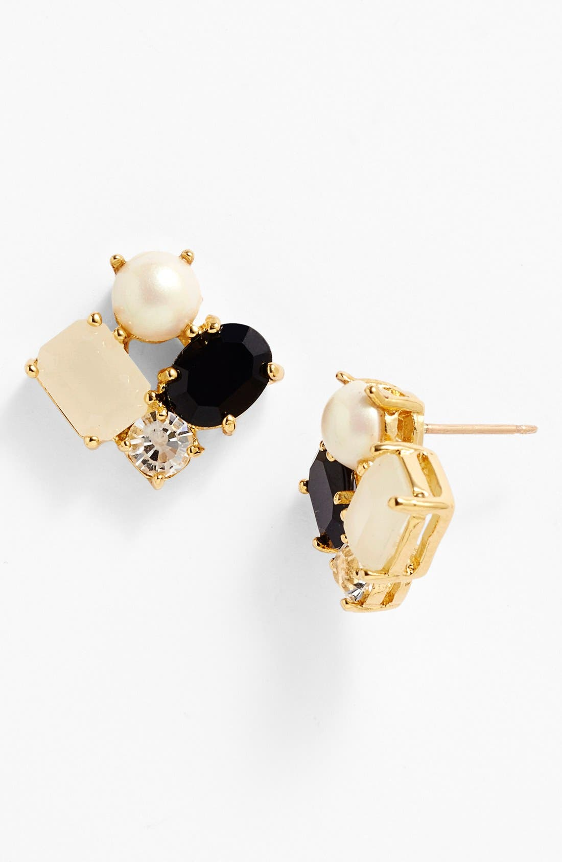 KATE SPADE NEW YORK, cluster earrings, Main thumbnail 1, color, 001