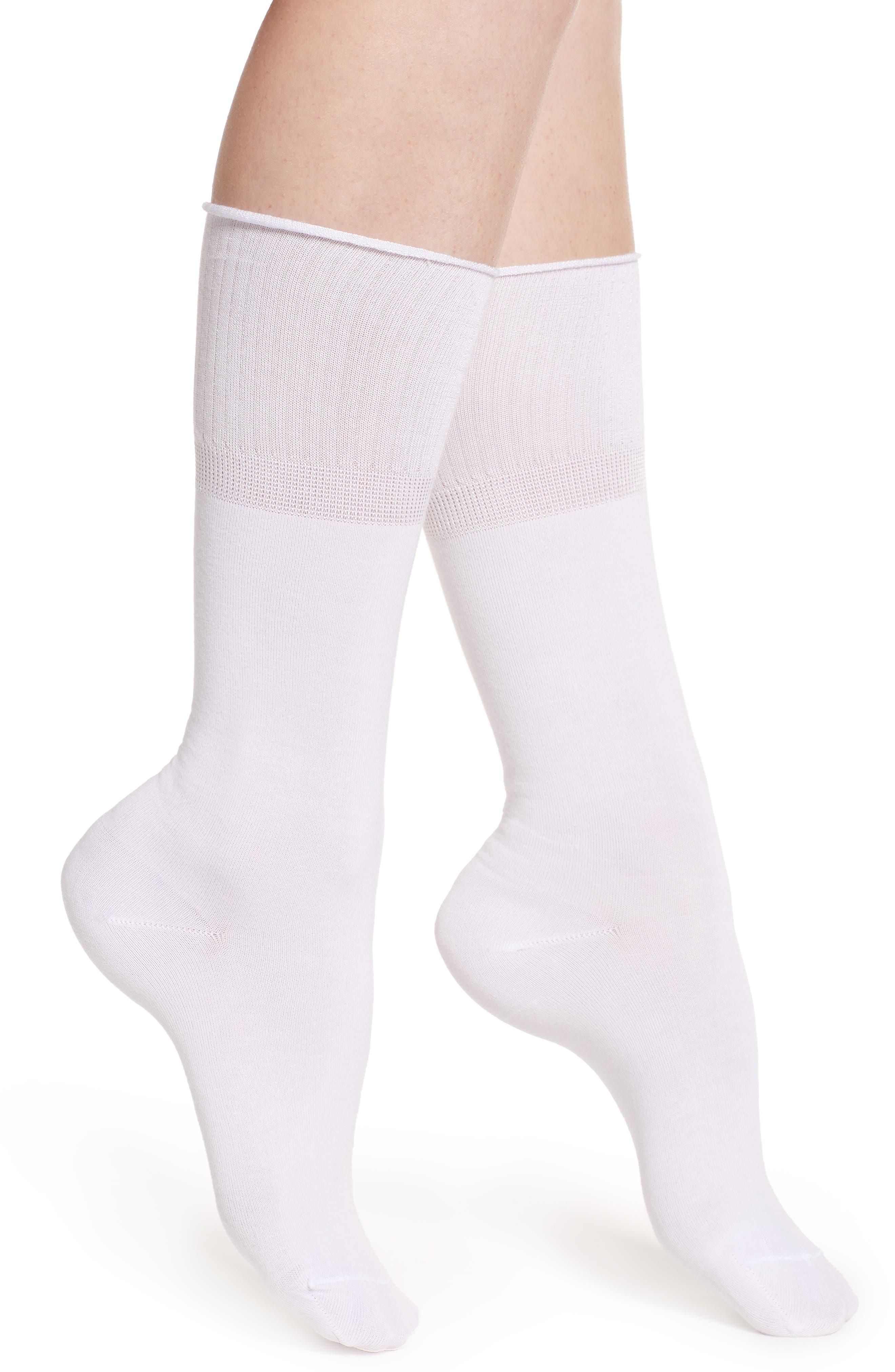 MAKE + MODEL, Dual Band Crew Socks, Main thumbnail 1, color, WHITE