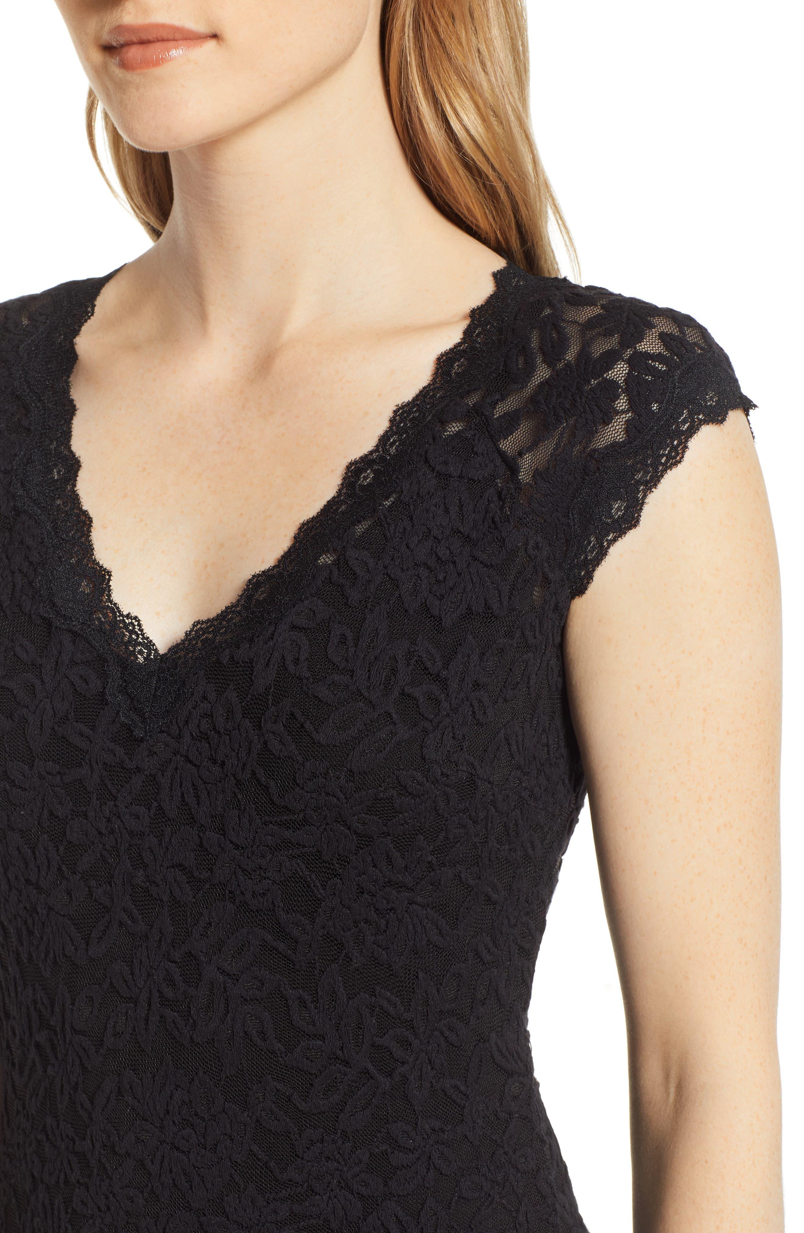 ROSEMUNDE, Delicia V-Neck Dress, Alternate thumbnail 5, color, BLACK