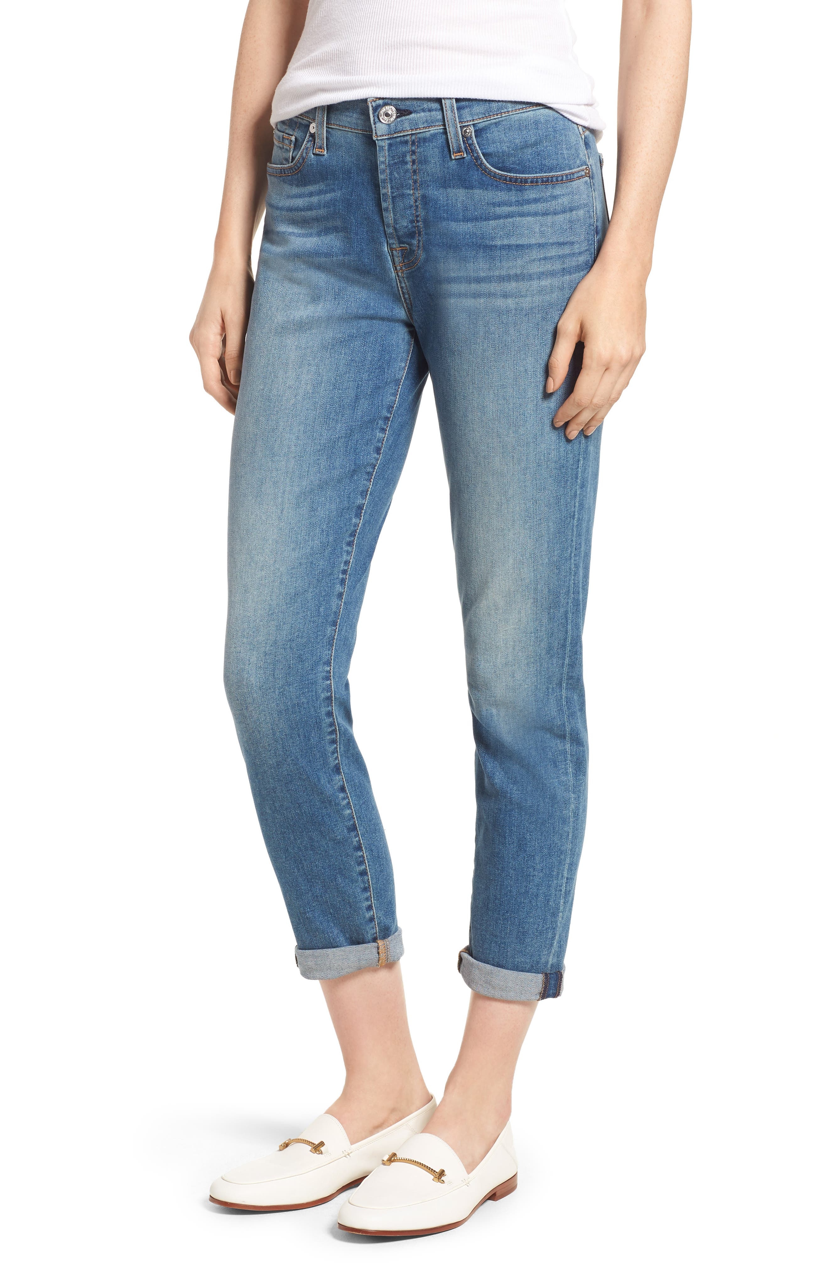 7 FOR ALL MANKIND<SUP>®</SUP> Josefina Crop Boyfriend Jeans, Main, color, GILDED DAWN