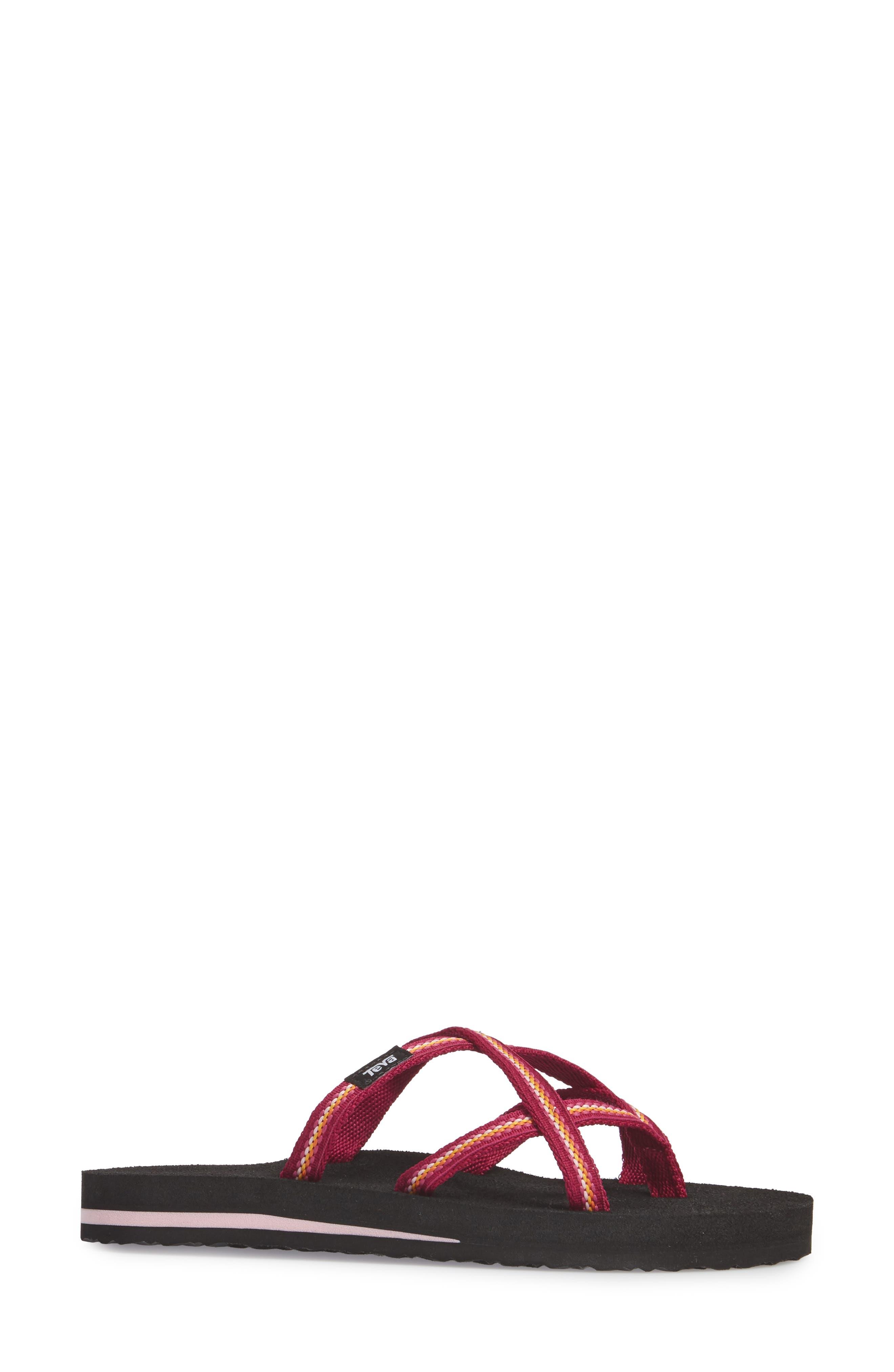 TEVA, 'Olowahu' Sandal, Alternate thumbnail 3, color, BOYSENBERRY FABRIC