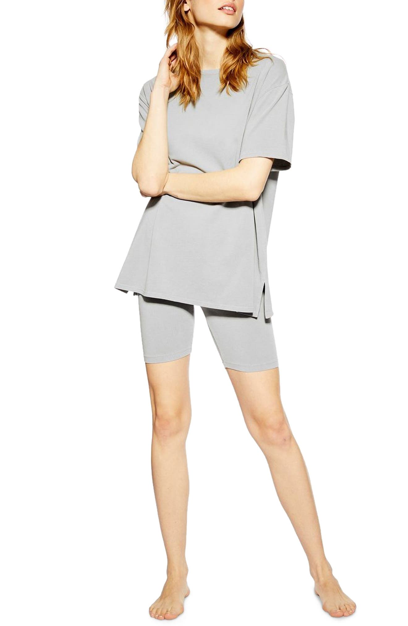 TOPSHOP, Washed Cycle Loungewear Set, Main thumbnail 1, color, STONE