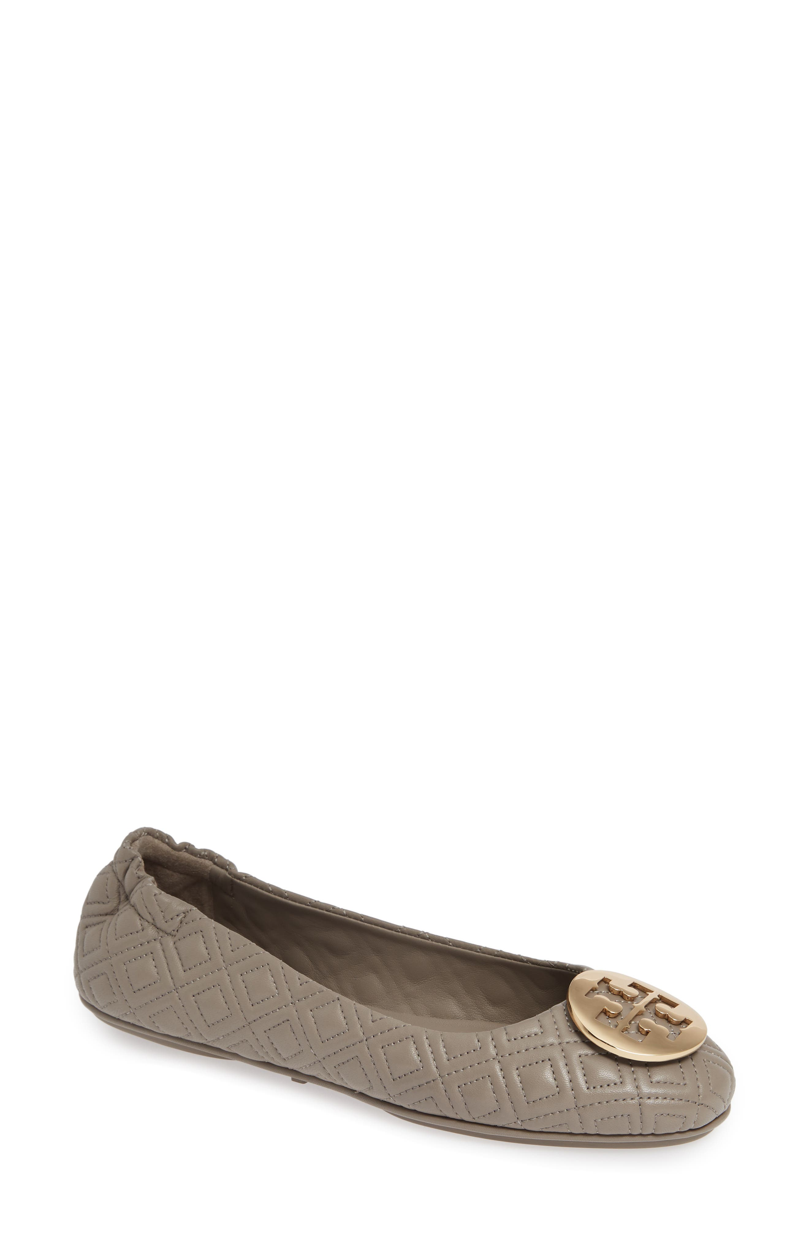 TORY BURCH, Quilted Minnie Flat, Main thumbnail 1, color, DUST STORM/ GOLD