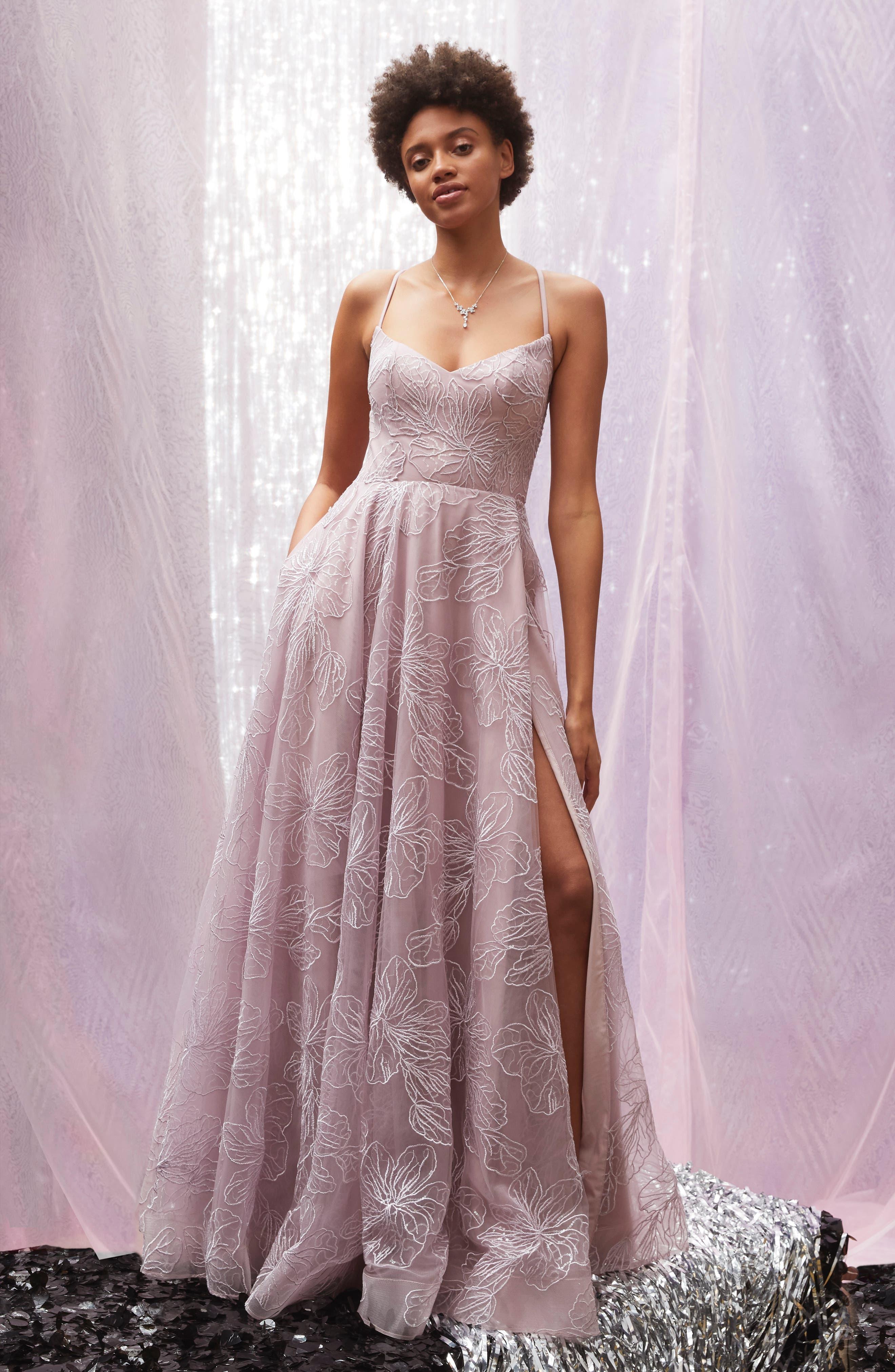 LA FEMME, Metallic Floral Embellished Evening Dress, Alternate thumbnail 9, color, MAUVE