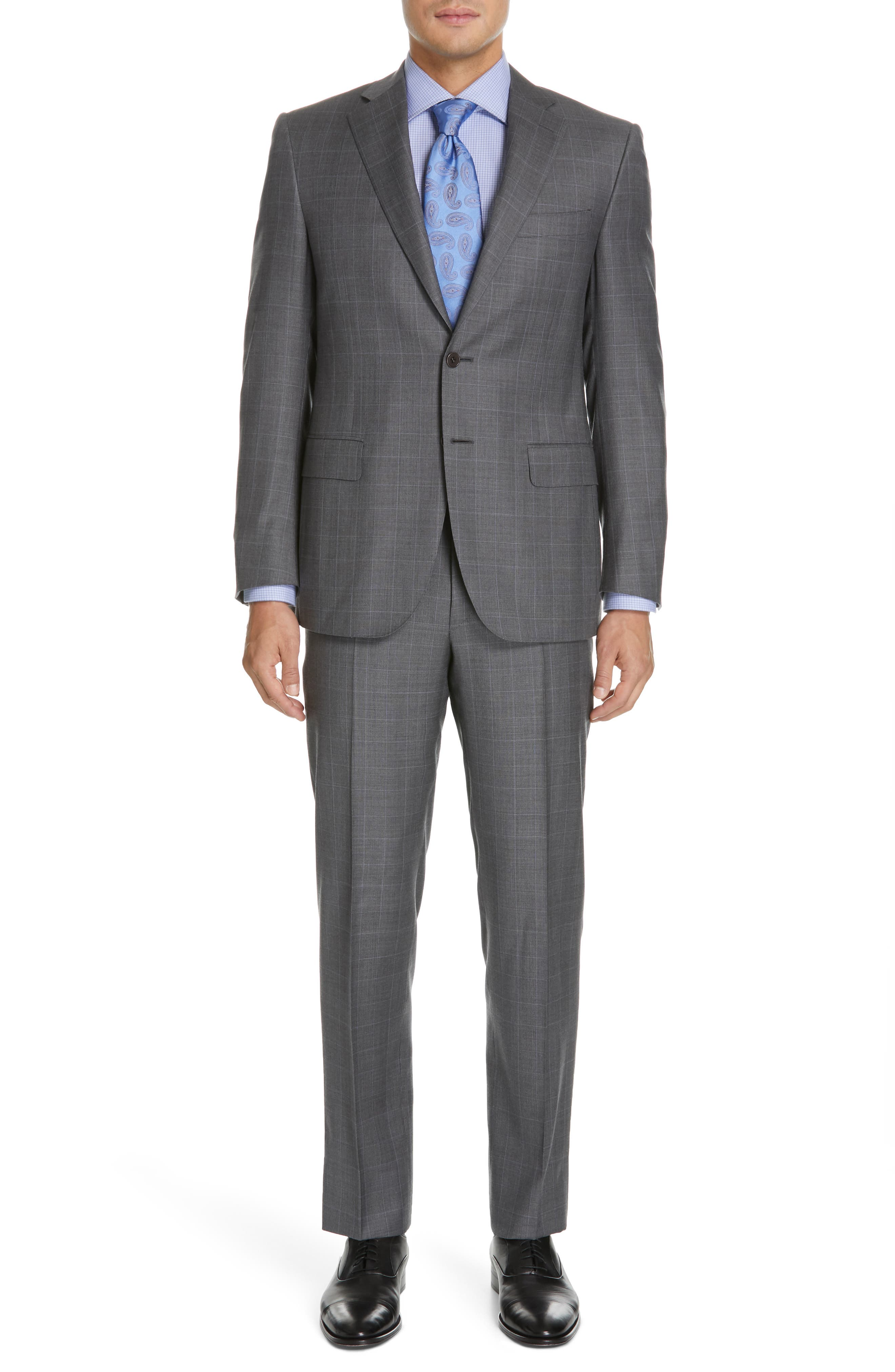 CANALI, Sienna Classic Fit Plaid Wool Suit, Main thumbnail 1, color, GREY