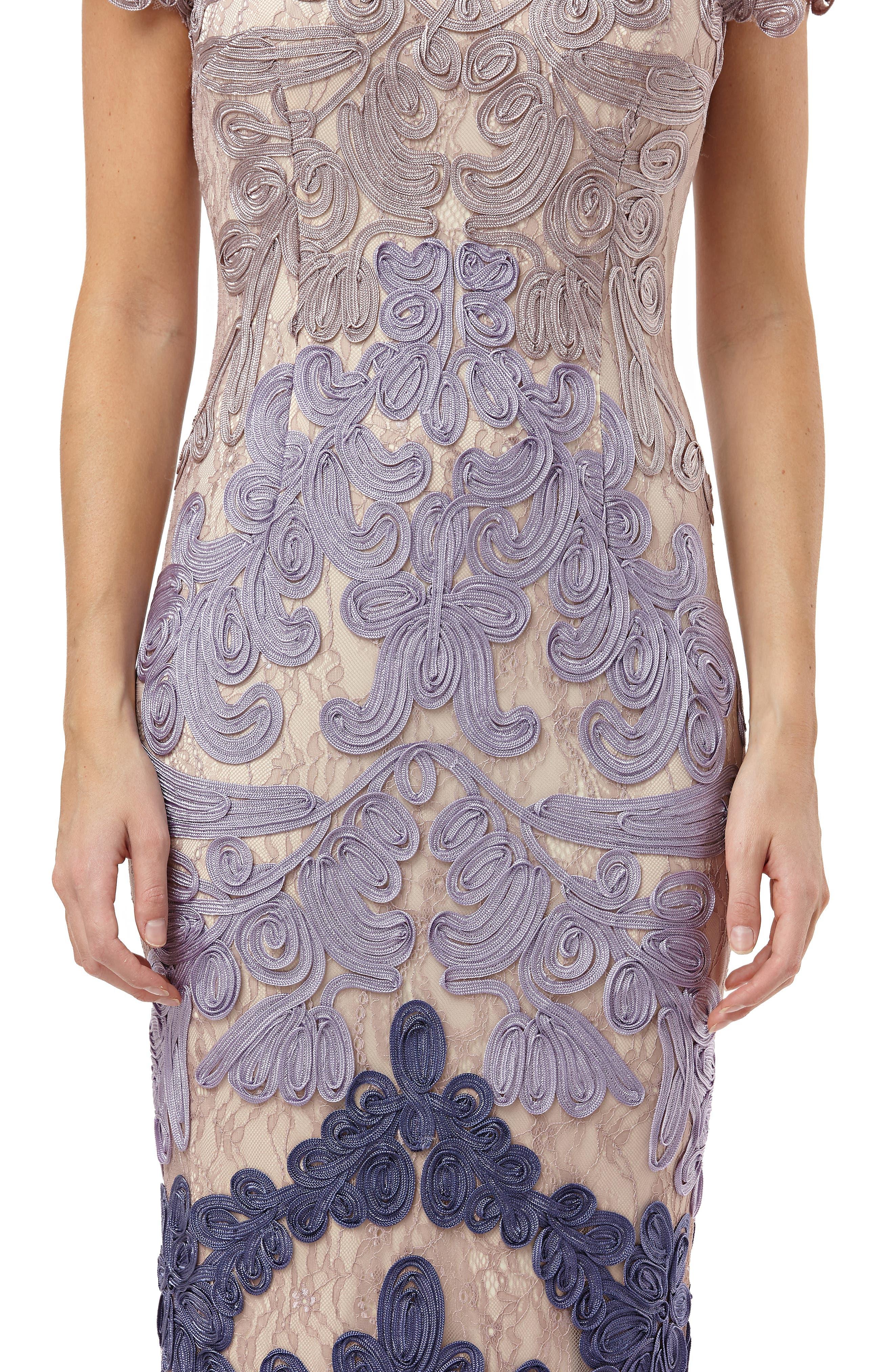 JS COLLECTIONS, Soutache Lace Midi Dress, Alternate thumbnail 3, color, TAUPE/ PLUM