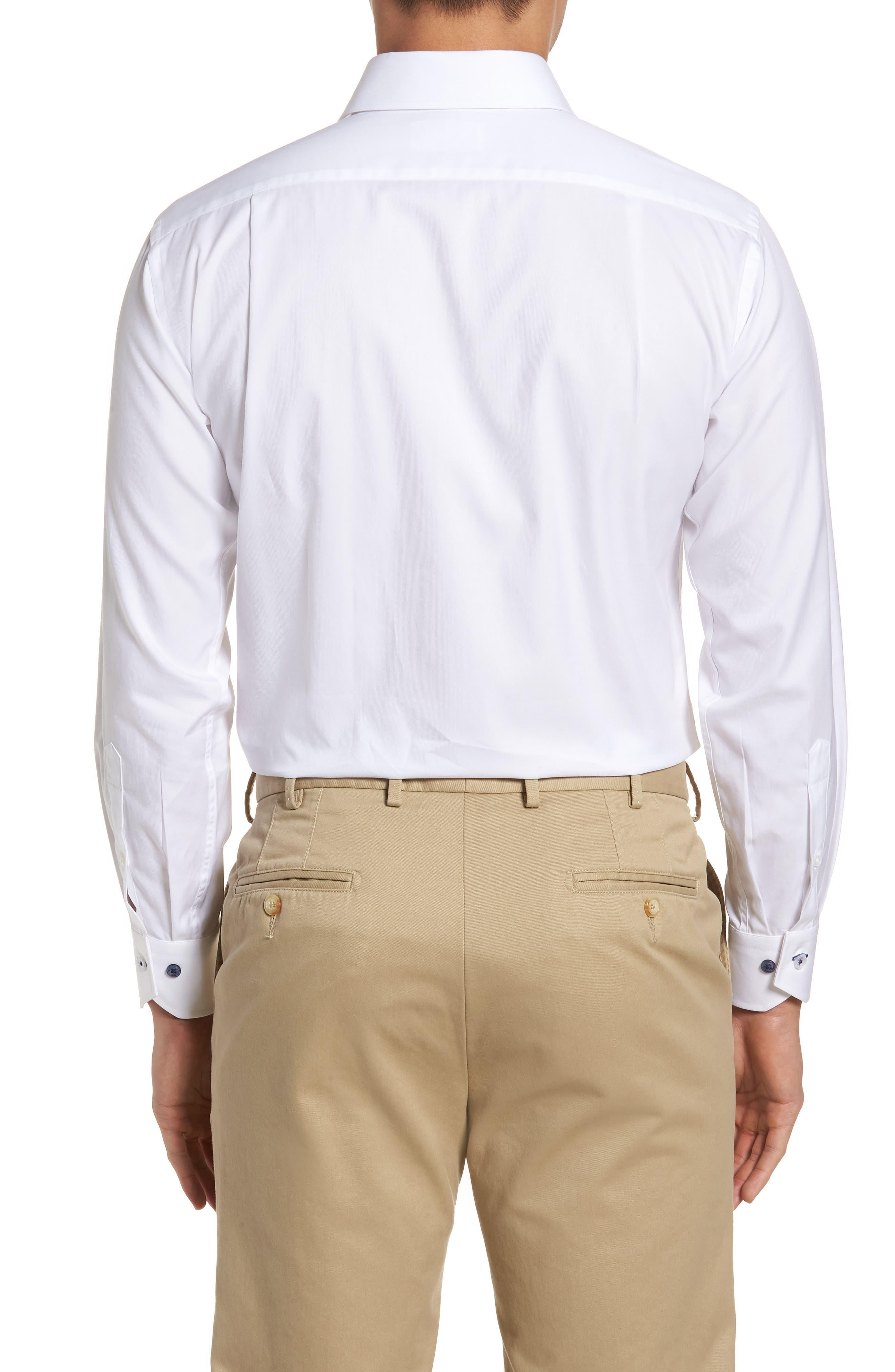 LORENZO UOMO, Trim Fit Solid Dress Shirt, Alternate thumbnail 3, color, WHITE
